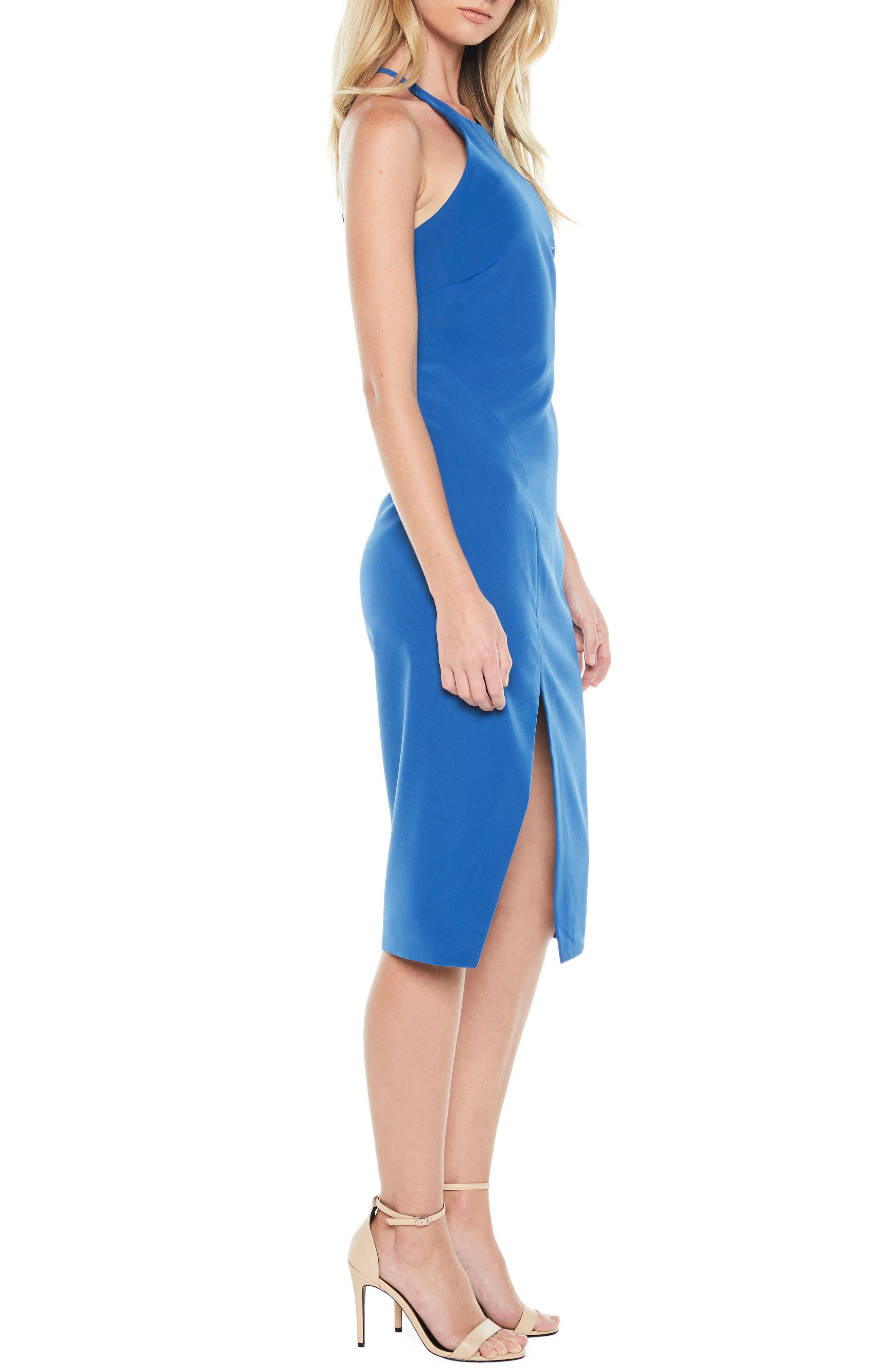 Vera Open Back Halter Dress,                             Alternate thumbnail 4, color,                             Sea Blue