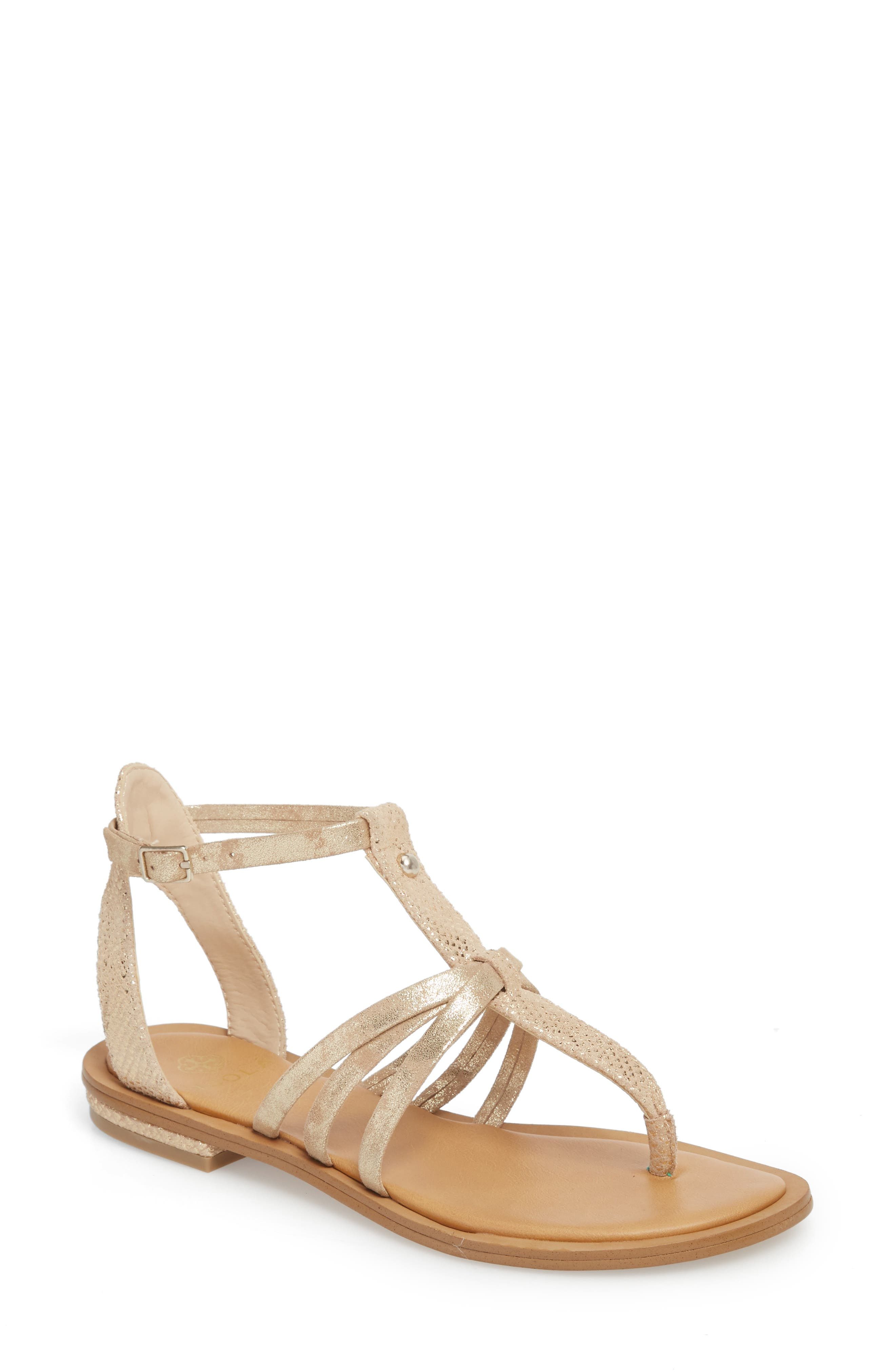 Marica Sandal,                         Main,                         color, Gold Suede