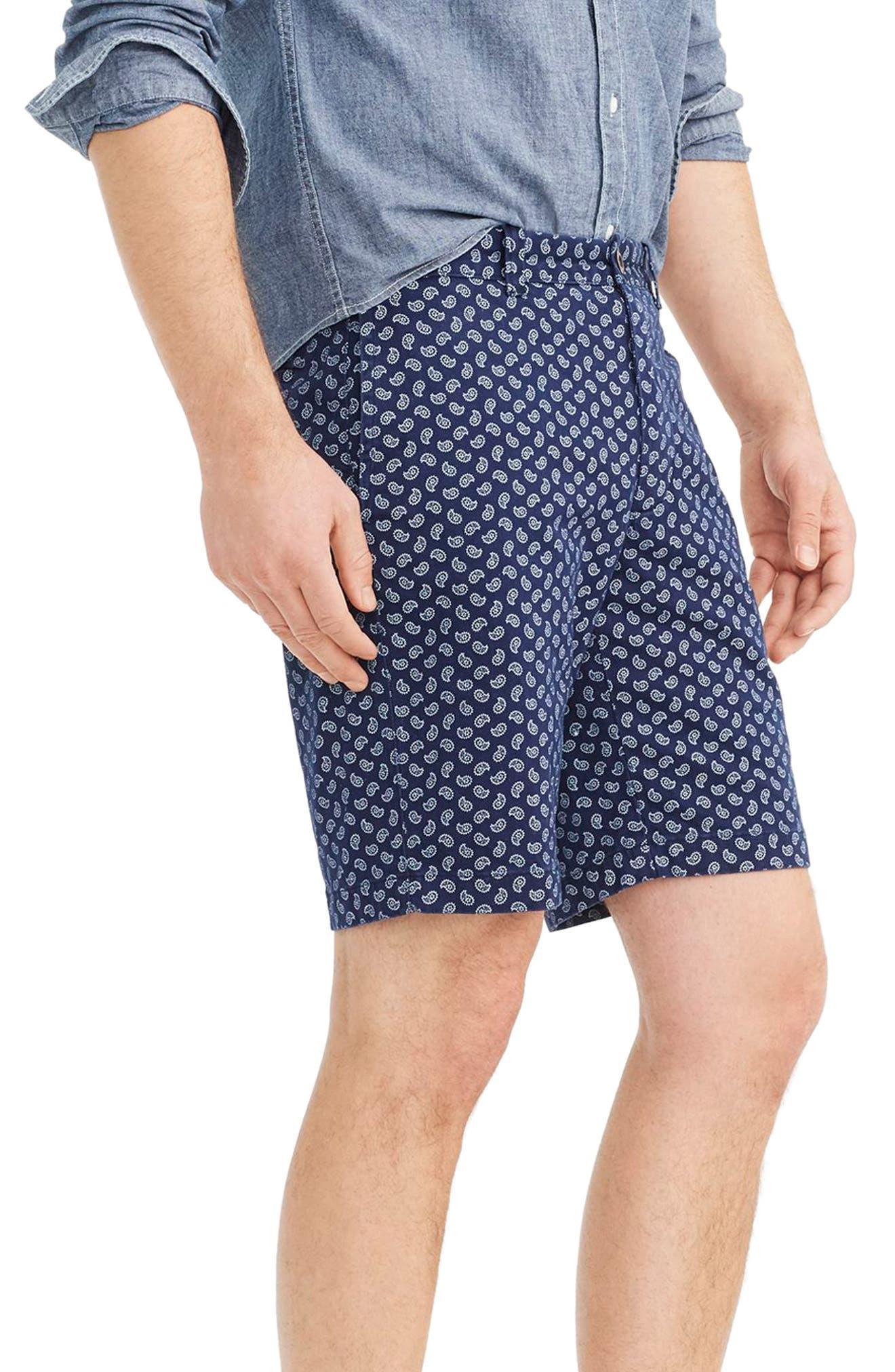 Paisley Stretch Cotton Shorts,                             Alternate thumbnail 3, color,                             Deep Baltic