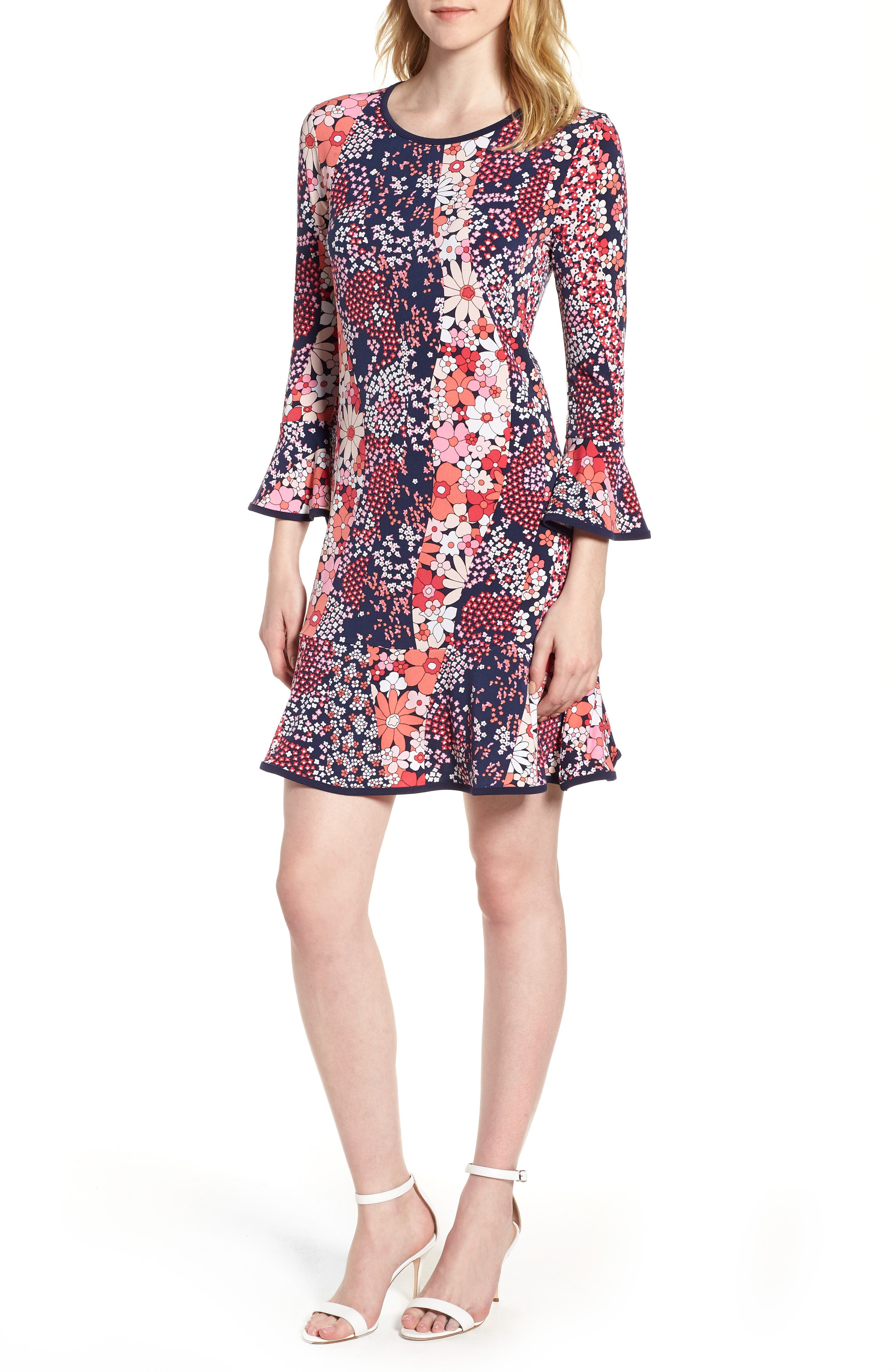 Patch Flower Flounce Dress,                             Main thumbnail 1, color,                             True Navy/ Bright Blush