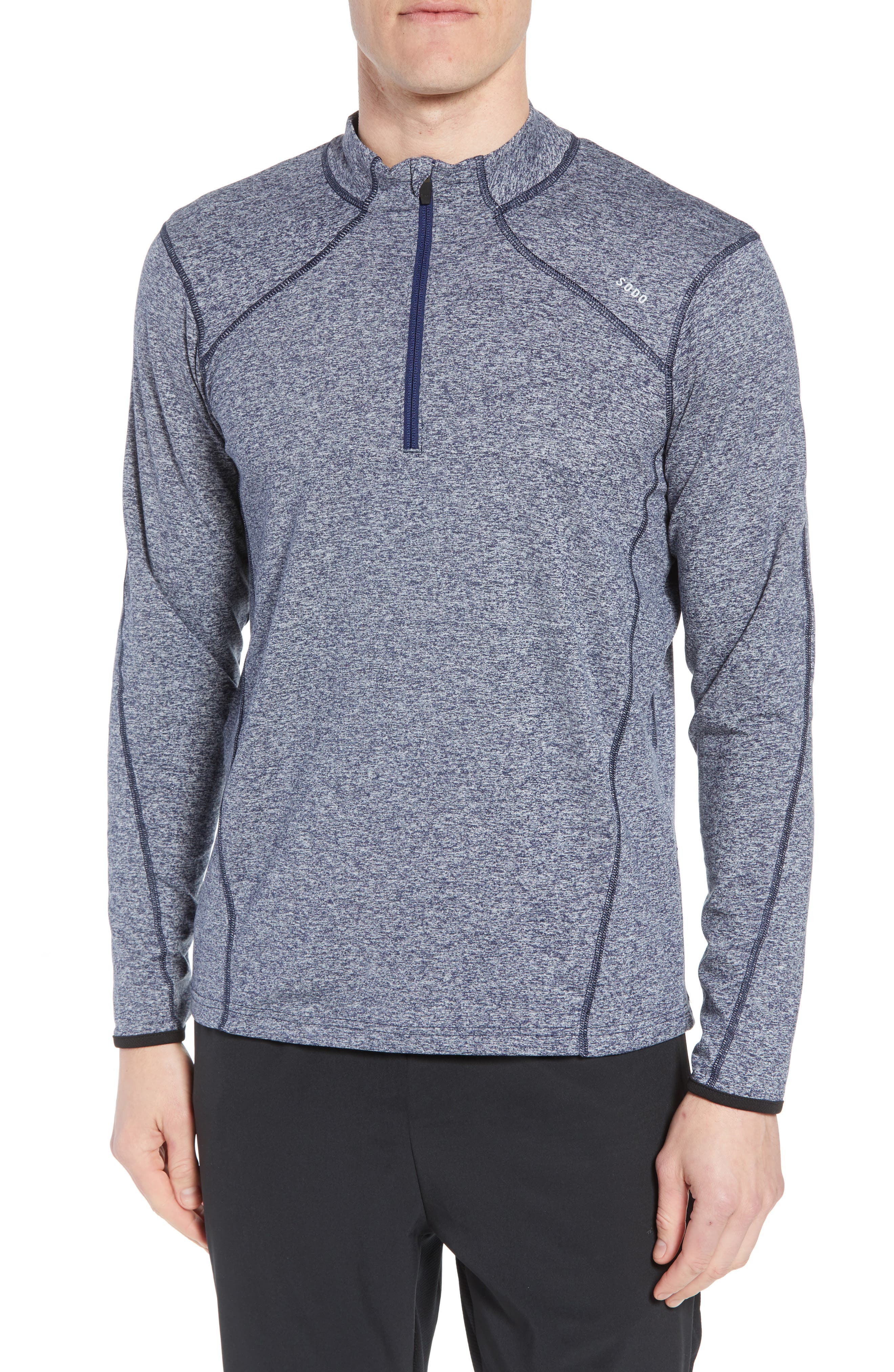 'Elevate' Moisture Wicking Stretch Quarter Zip Pullover,                             Main thumbnail 1, color,                             Heather Navy/ Navy