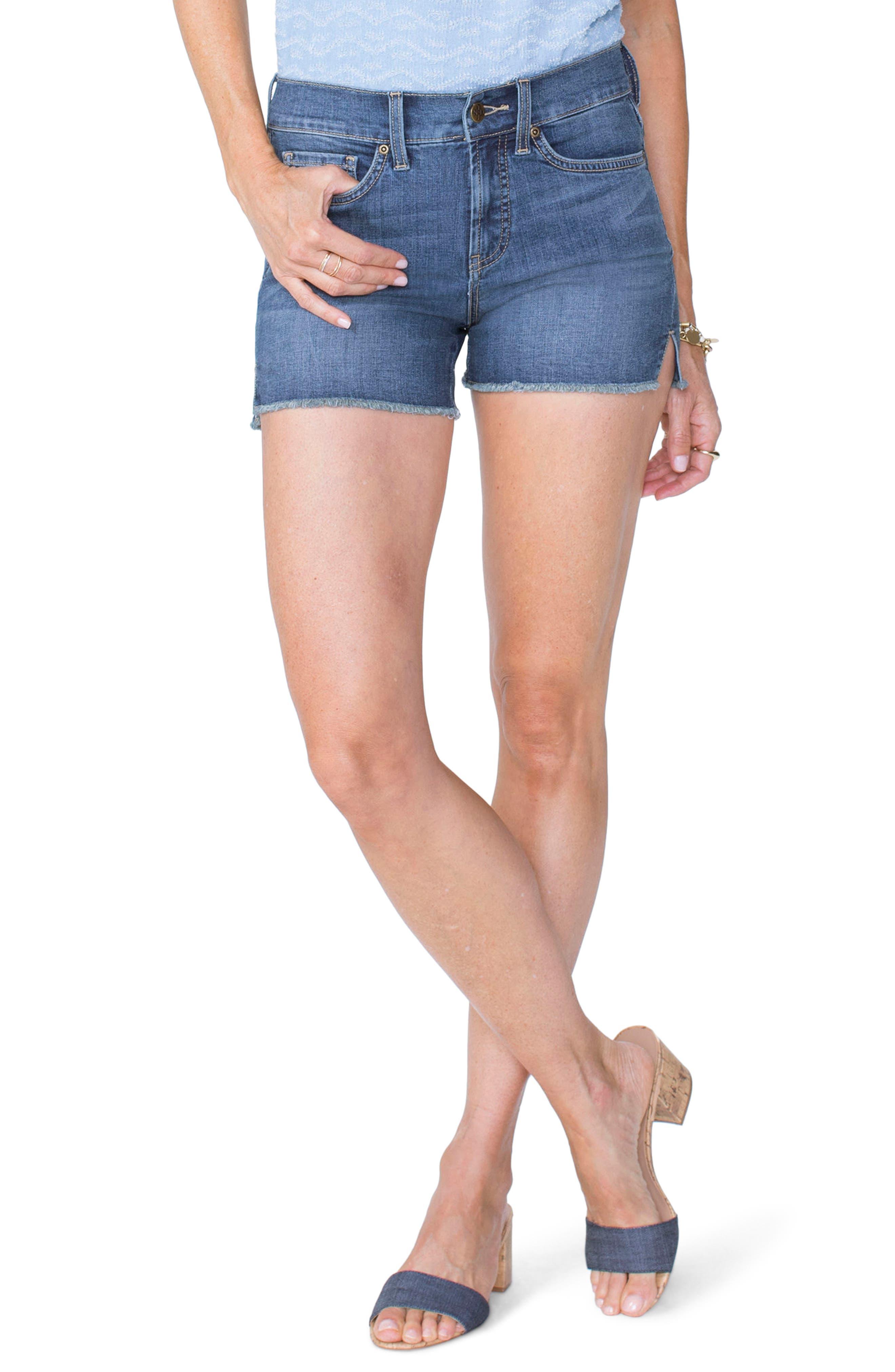 Frayed Hem Jean Shorts,                         Main,                         color, Zimbali