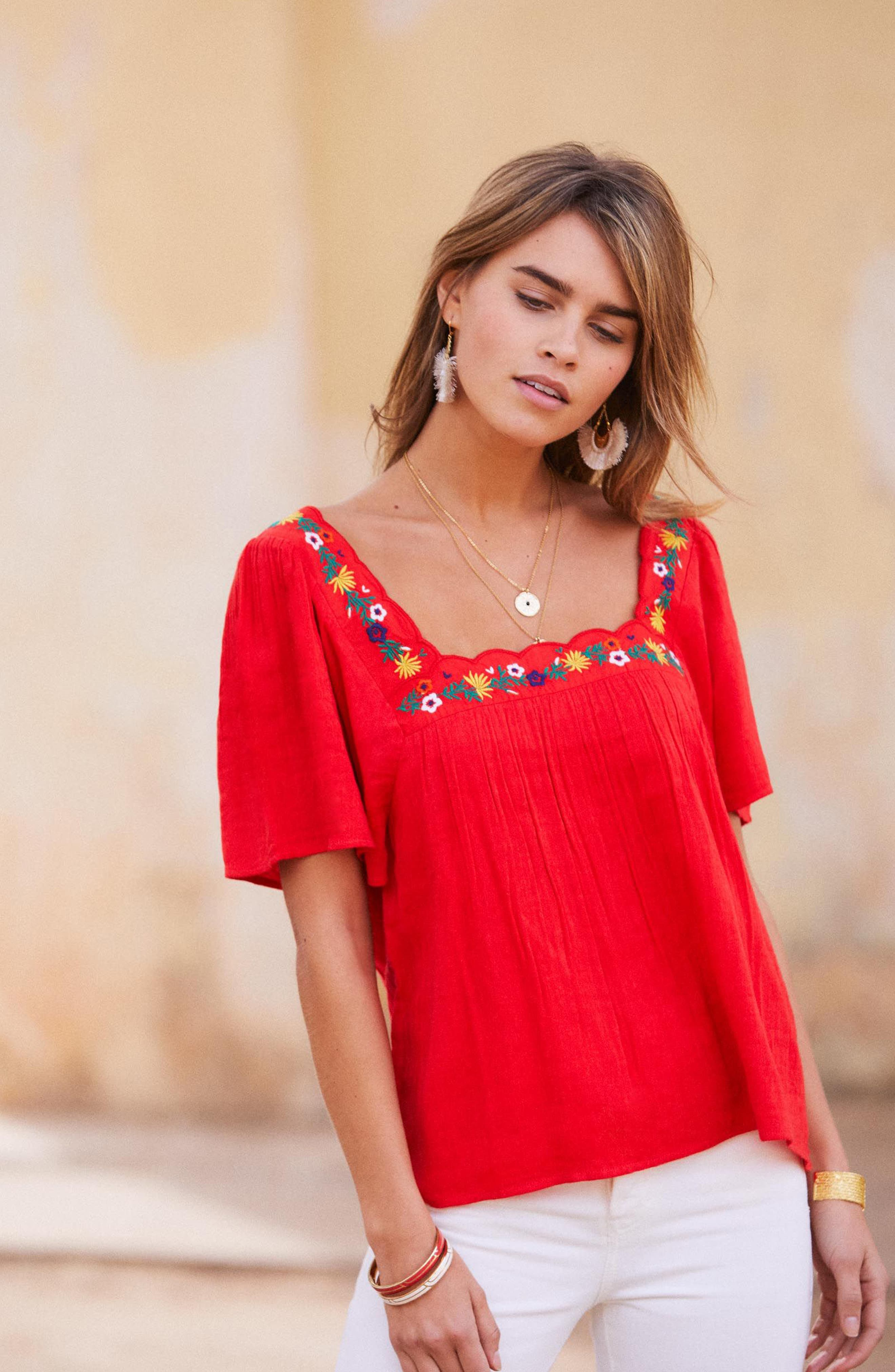 Bea Scalloped Top,                             Alternate thumbnail 2, color,                             Coral Red
