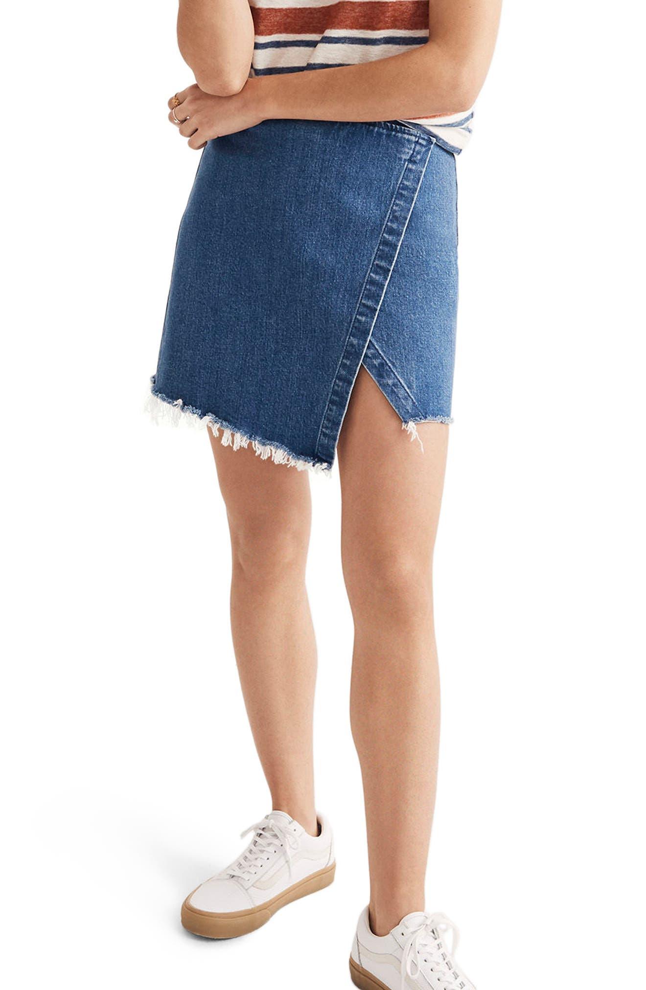 Denim Faux Wrap Mini Skirt,                             Main thumbnail 1, color,                             Palma Wash