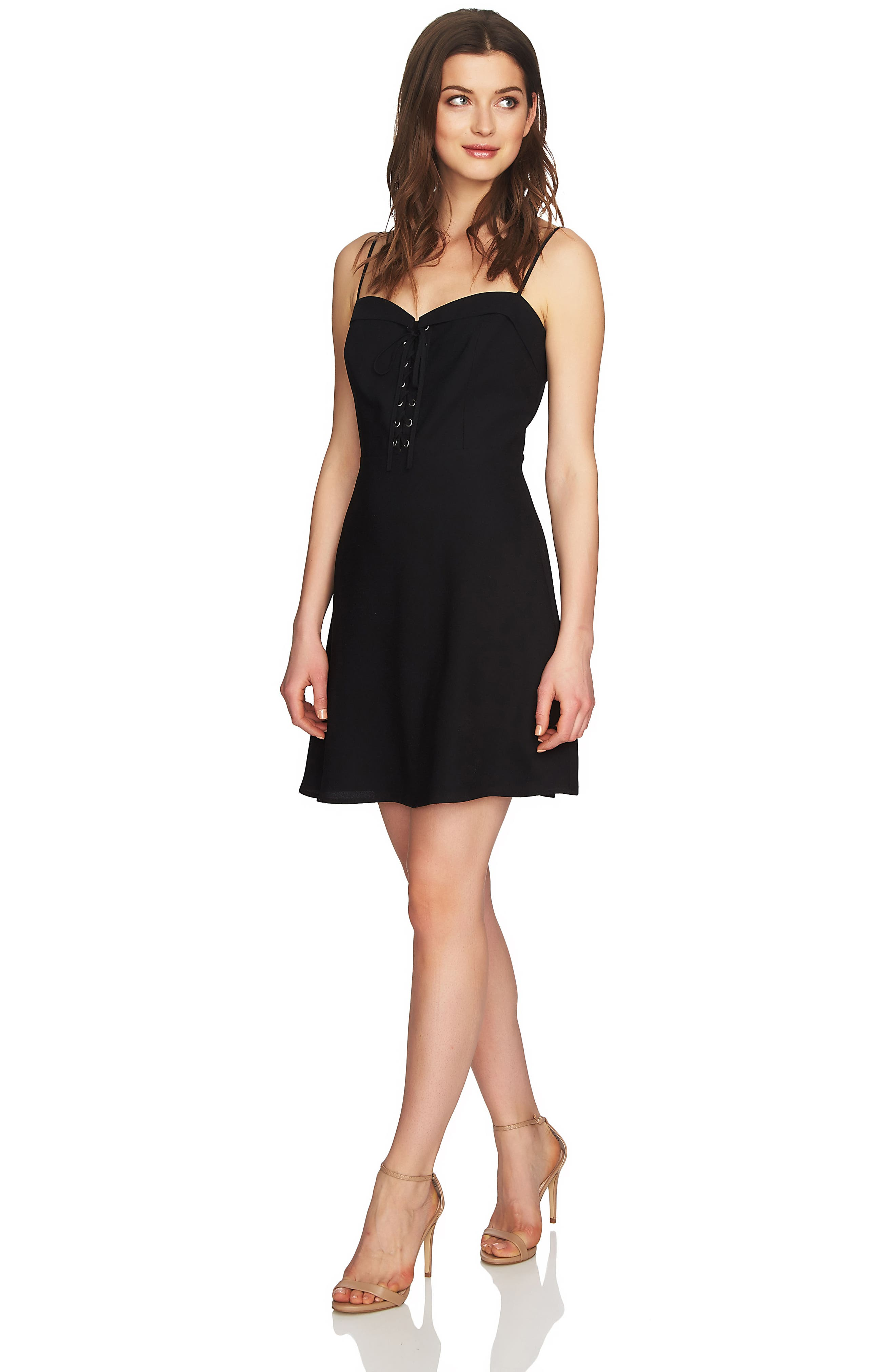 Robin Lace-Up Dress,                             Alternate thumbnail 2, color,                             Rich Black