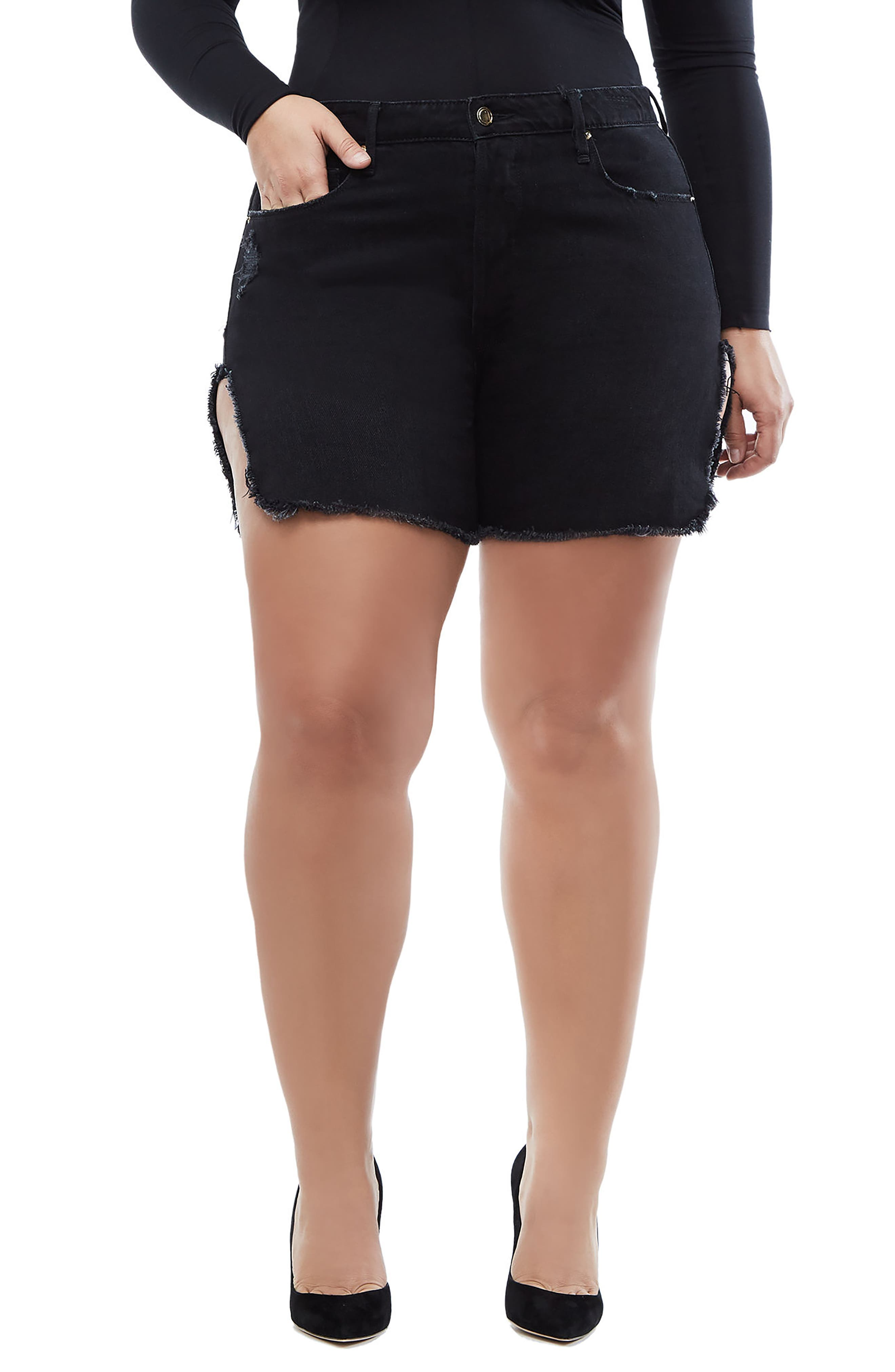 Bombshell High Waist Cutoff Denim Shorts,                             Alternate thumbnail 4, color,                             Black 019