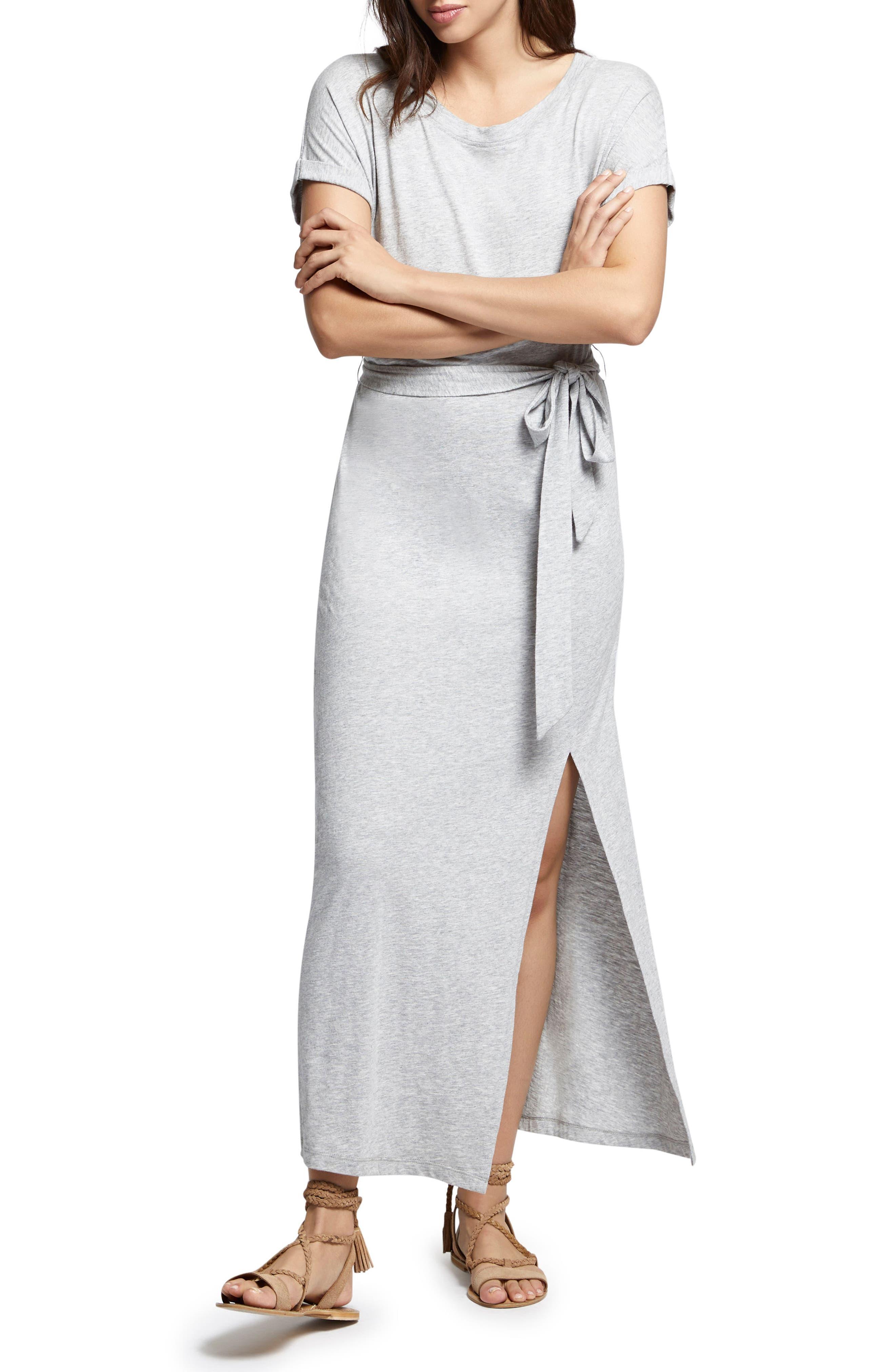 Isle Maxi Dress,                             Alternate thumbnail 4, color,                             Heather Grey