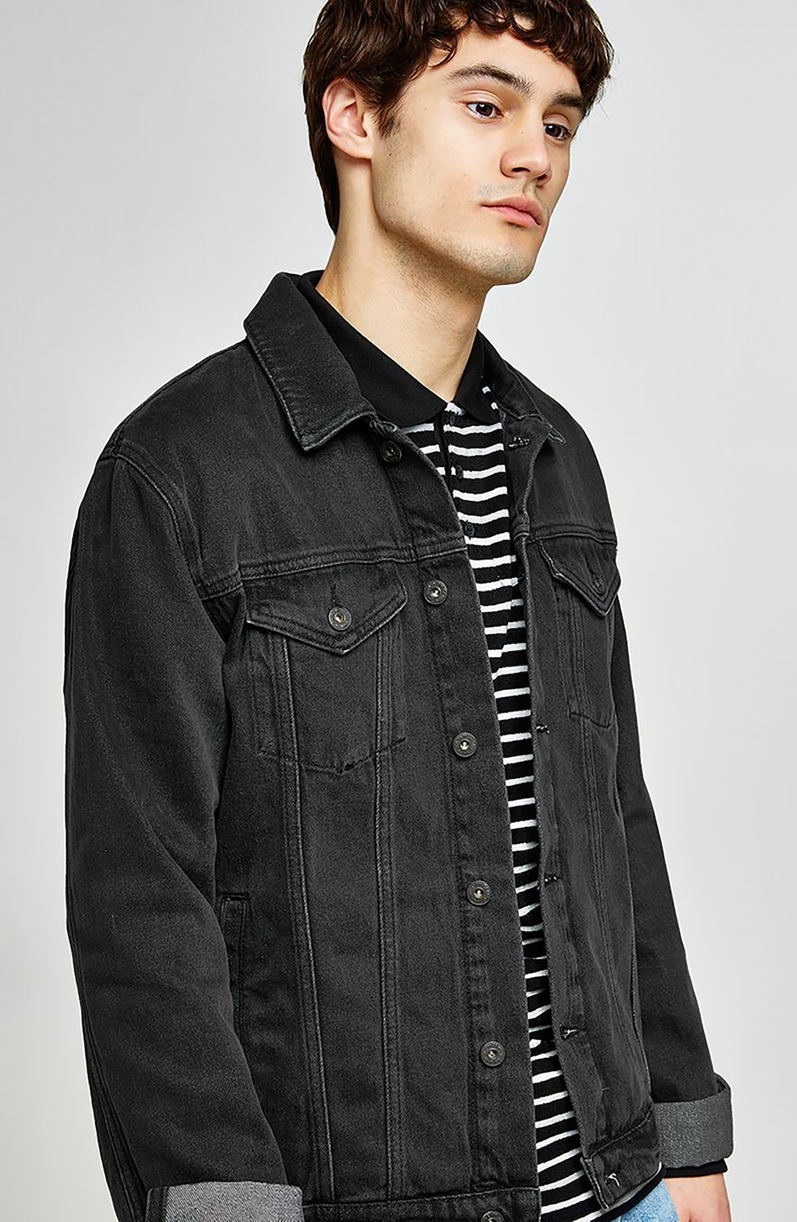 Western Denim Jacket,                             Alternate thumbnail 4, color,                             Black
