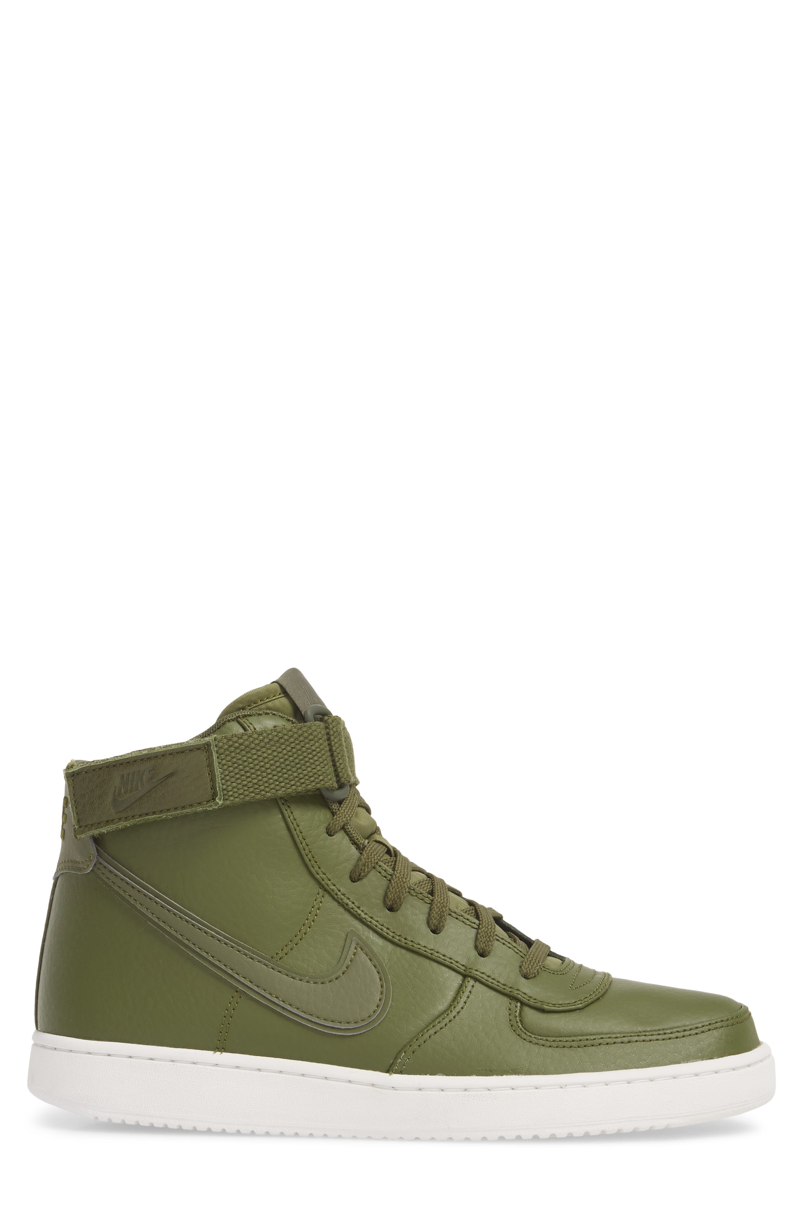 Vandal High Supreme Leather Sneaker,                             Alternate thumbnail 3, color,                             Legion Green/ Summit White