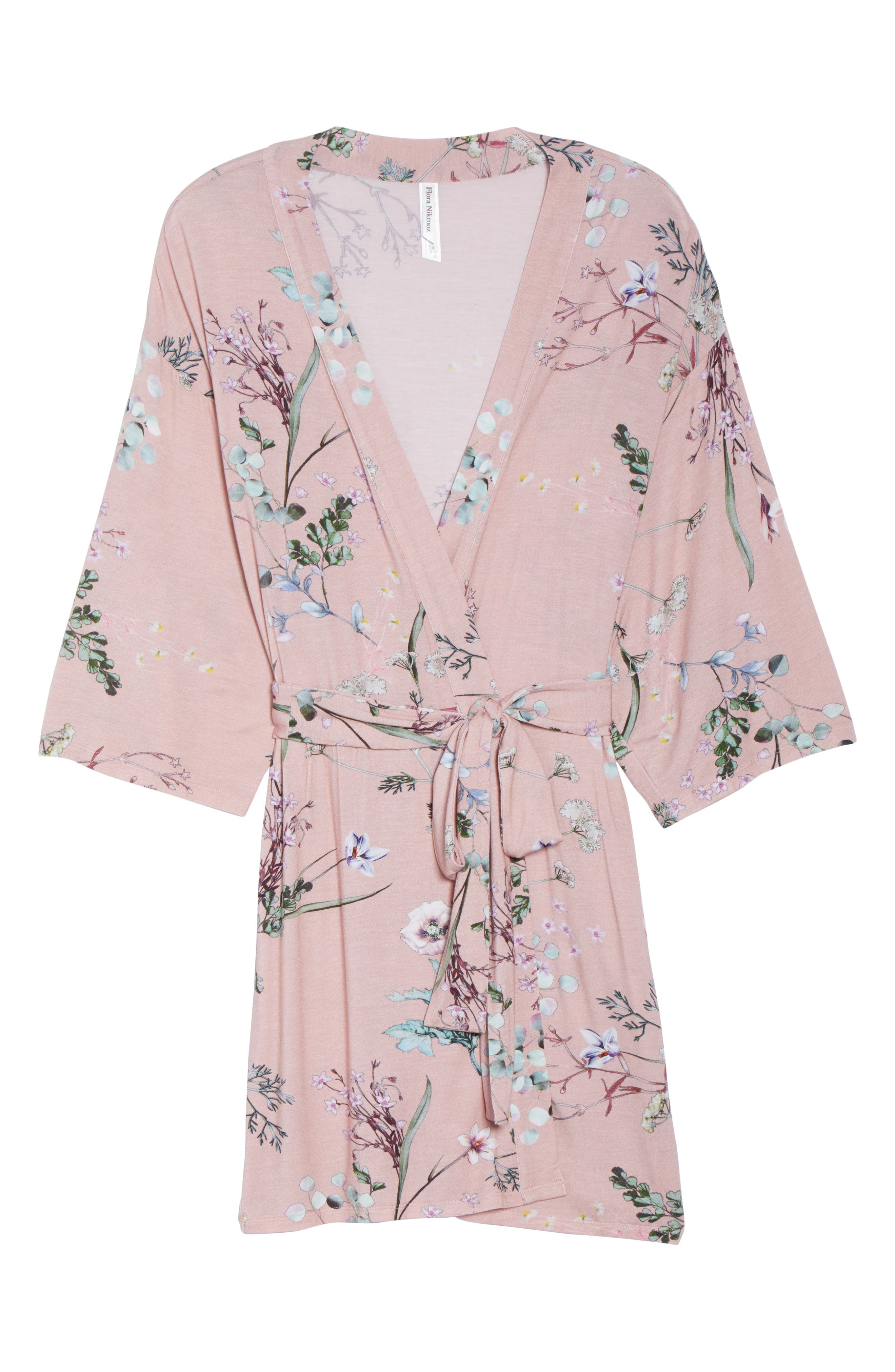 Floral Print Robe,                             Alternate thumbnail 4, color,                             Terra Cota
