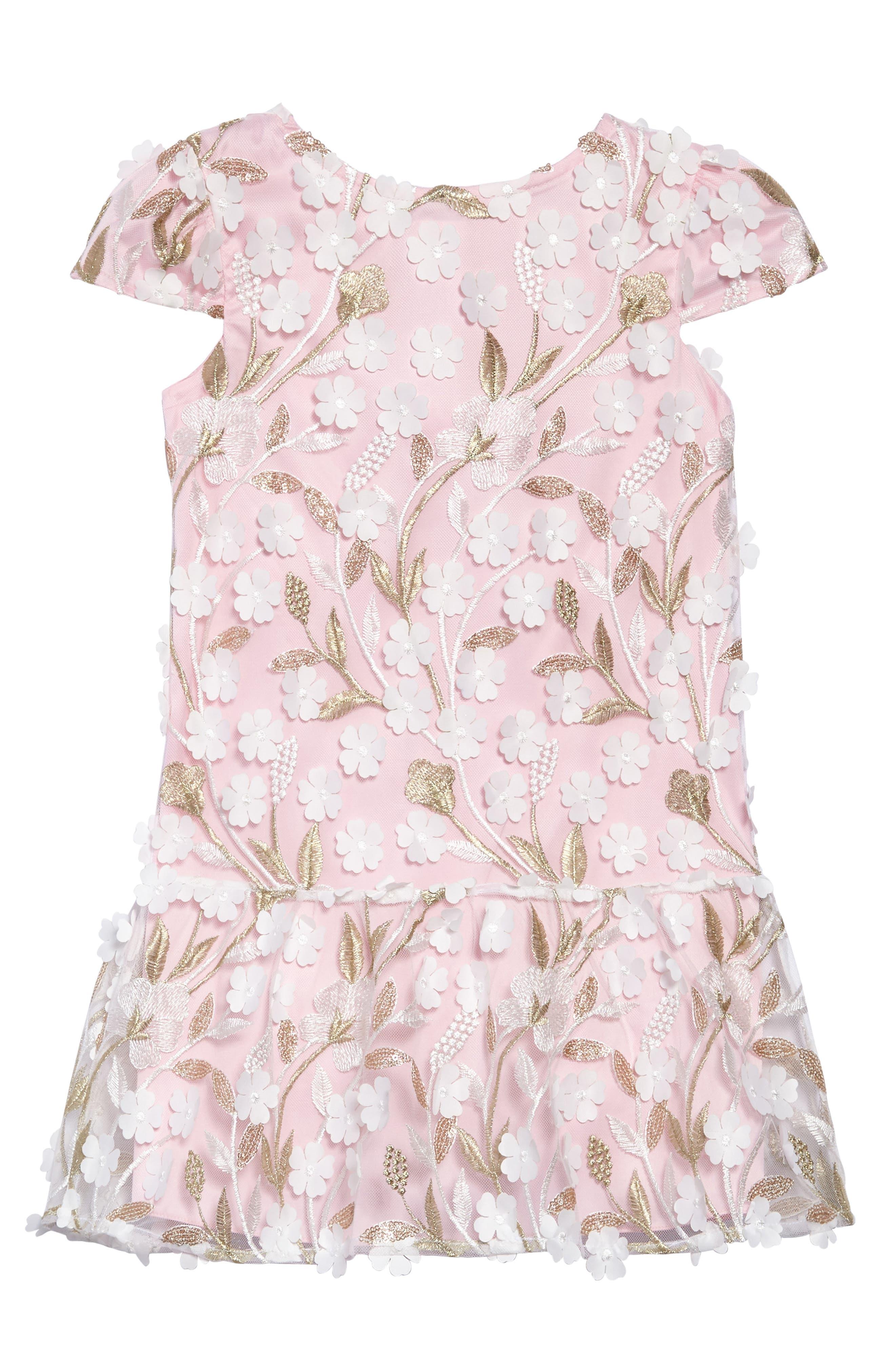 Floral Drop Waist Dress,                             Main thumbnail 1, color,                             Pink