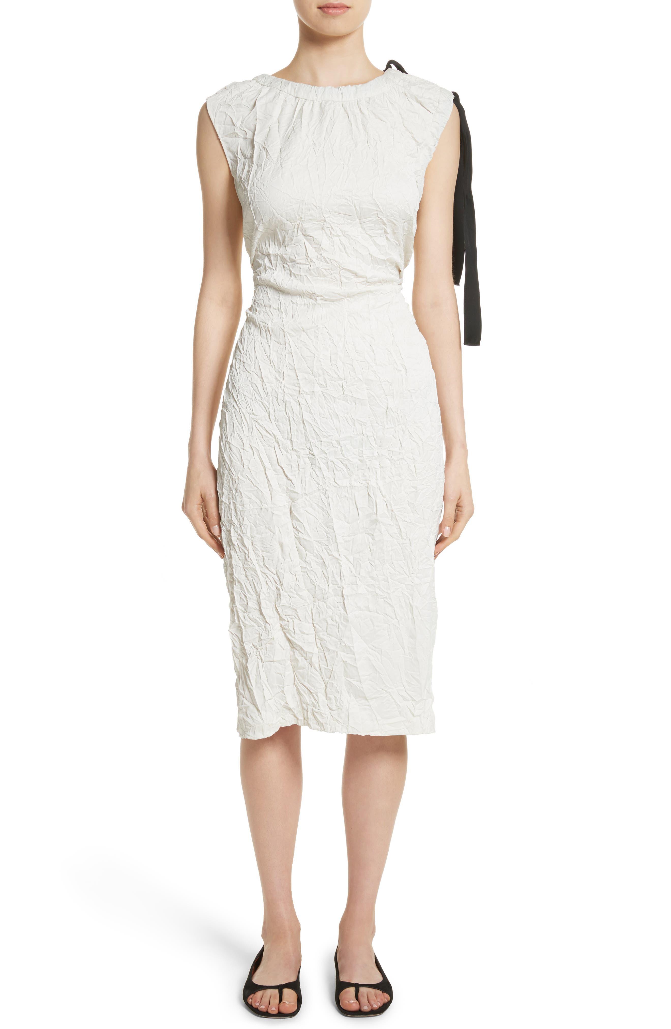 Cutout Drawstring Dress,                             Main thumbnail 1, color,                             Oyster