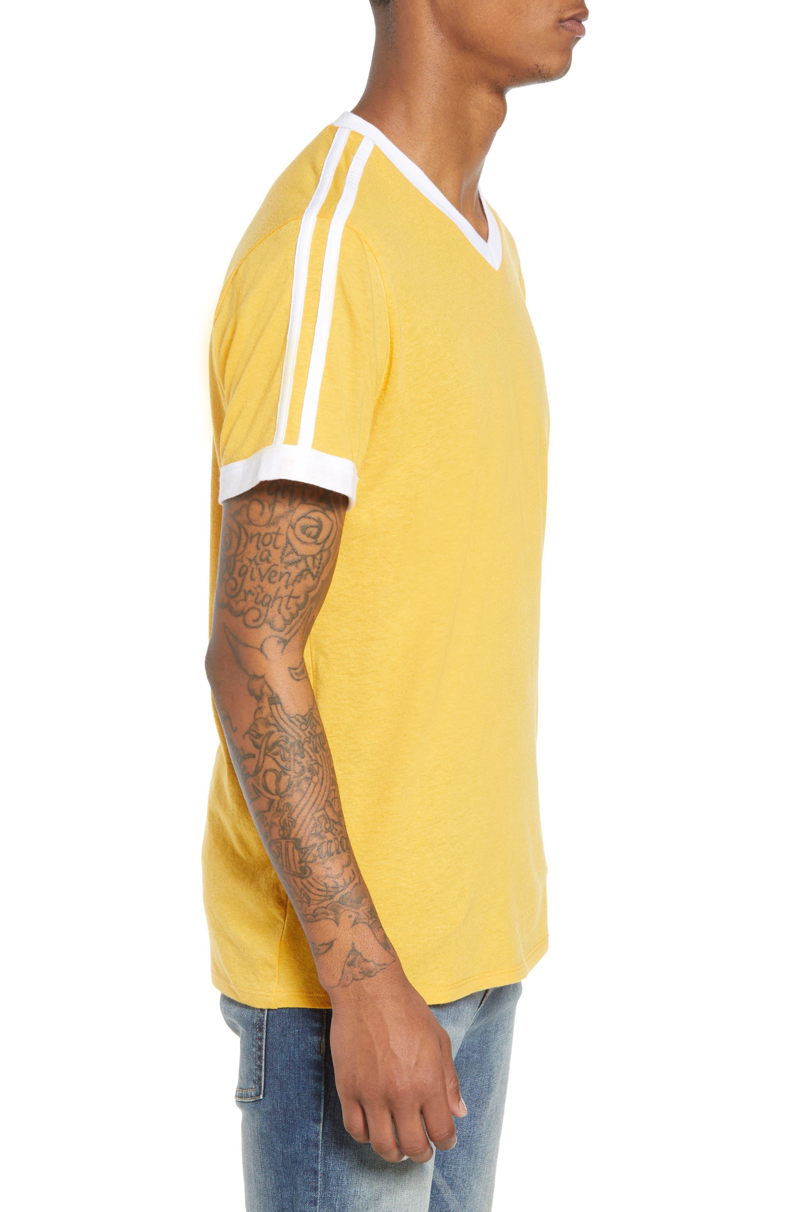 Vintage Athletic V-Neck T-Shirt,                             Alternate thumbnail 3, color,                             Yellow Mineral / White Stripe