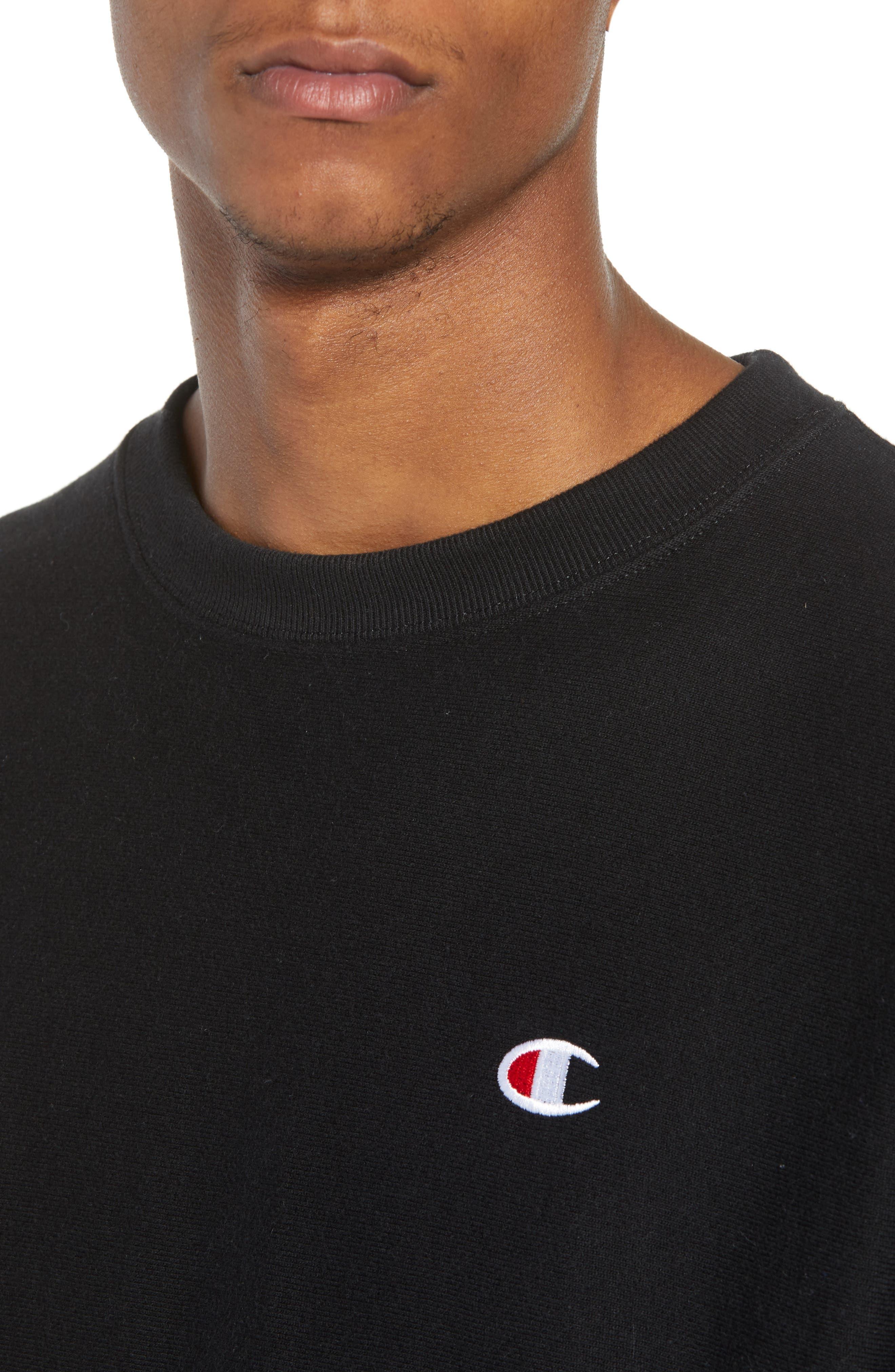 Reverse Weave Sweatshirt,                             Alternate thumbnail 4, color,                             Black