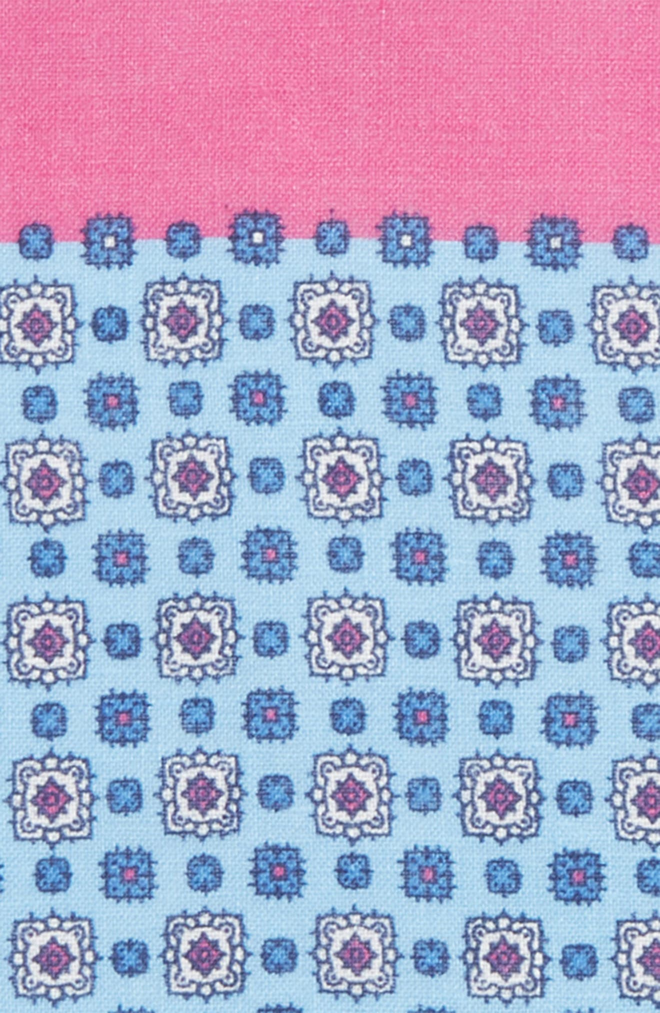 Medallion Linen Pocket Square,                             Alternate thumbnail 3, color,                             Pink