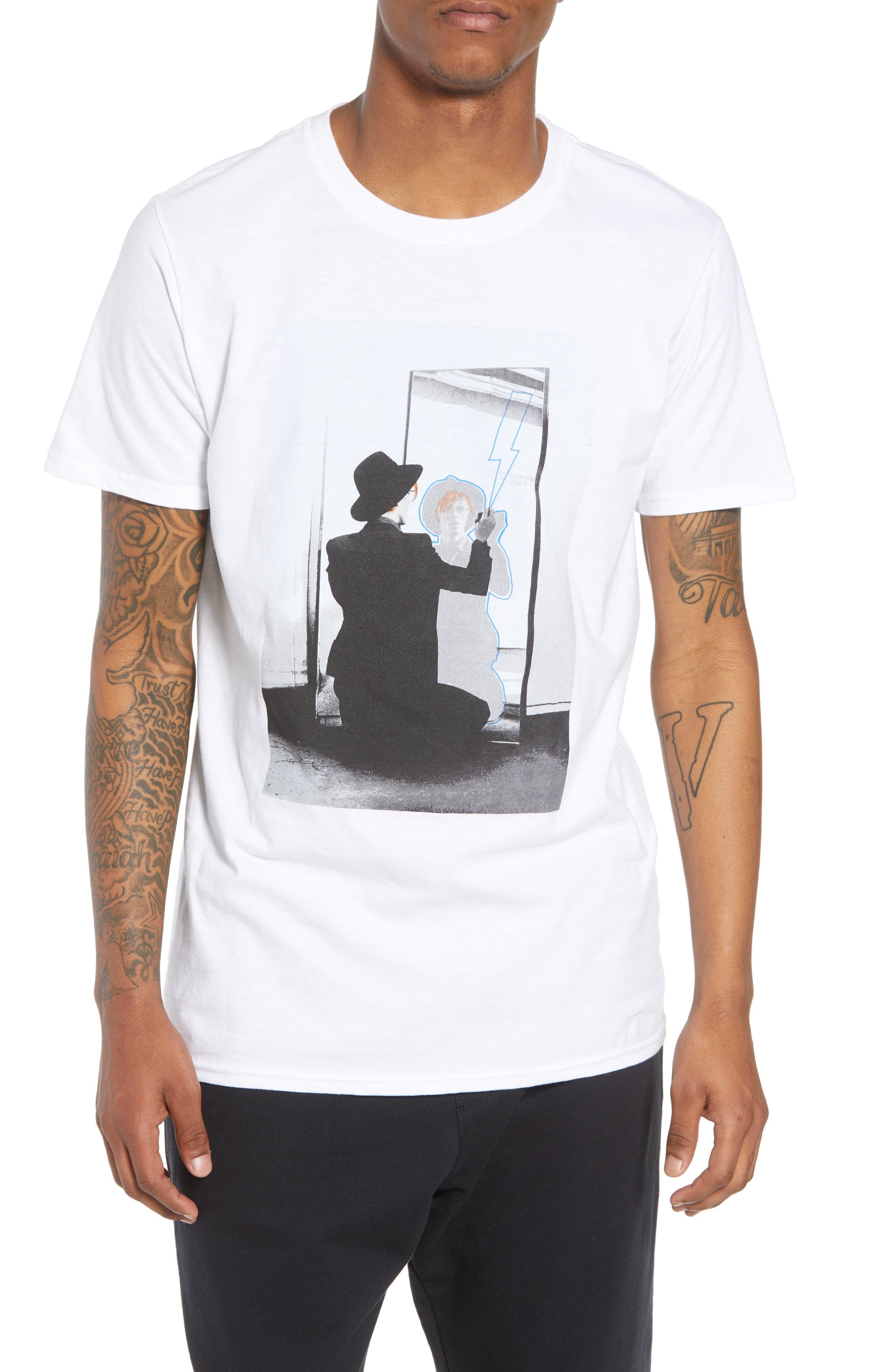 David Bowie Mirror T-Shirt,                             Main thumbnail 1, color,                             White Bowie Mirror
