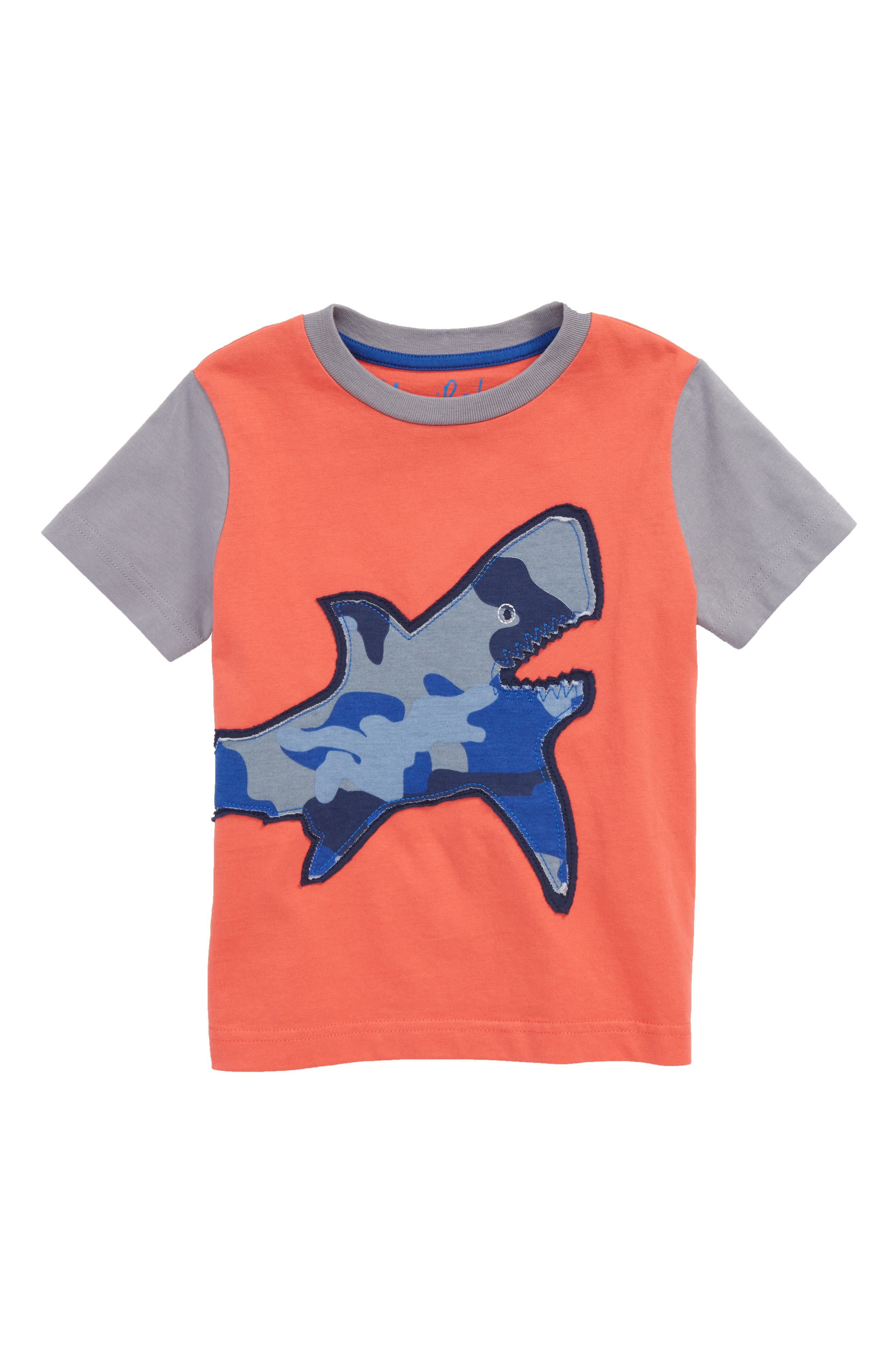 Mini Boden Patchwork Shark Appliqué T-Shirt (Toddler Boys, Little Boys & Big Boys)