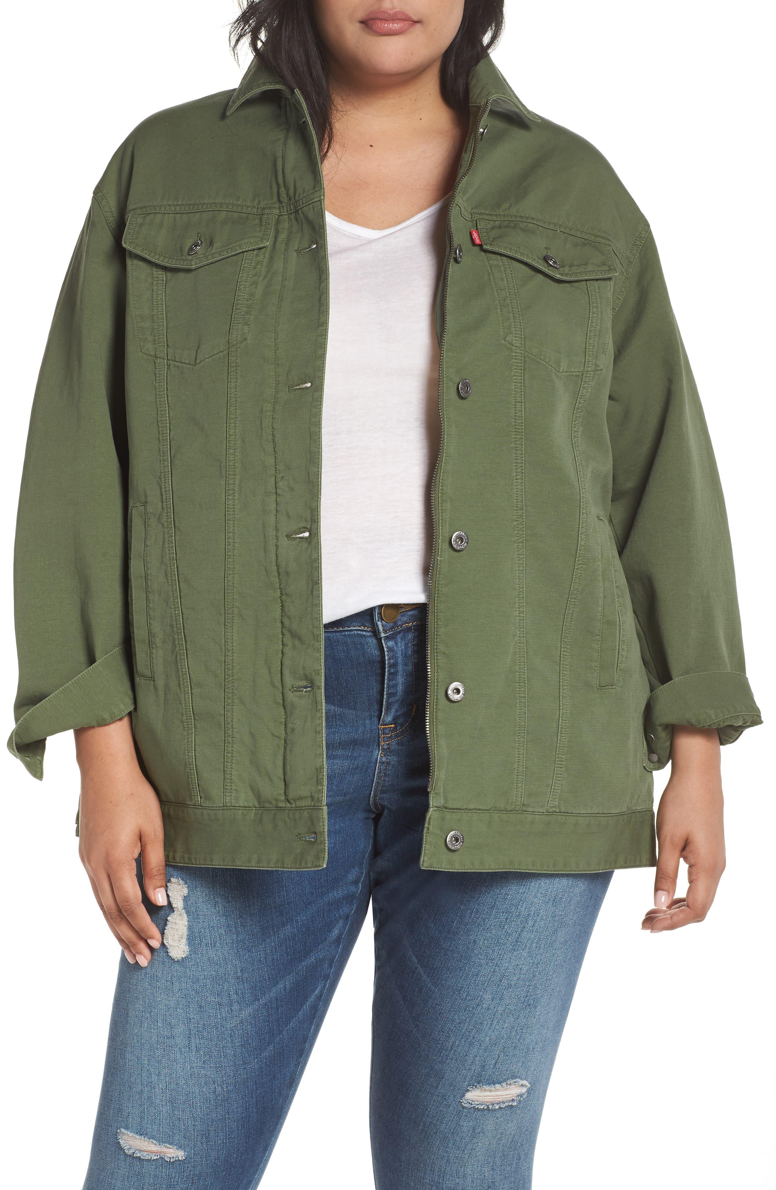 Alternate Image 1 Selected - Levi's® Oversize Cotton Canvas Trucker Jacket (Plus Size)