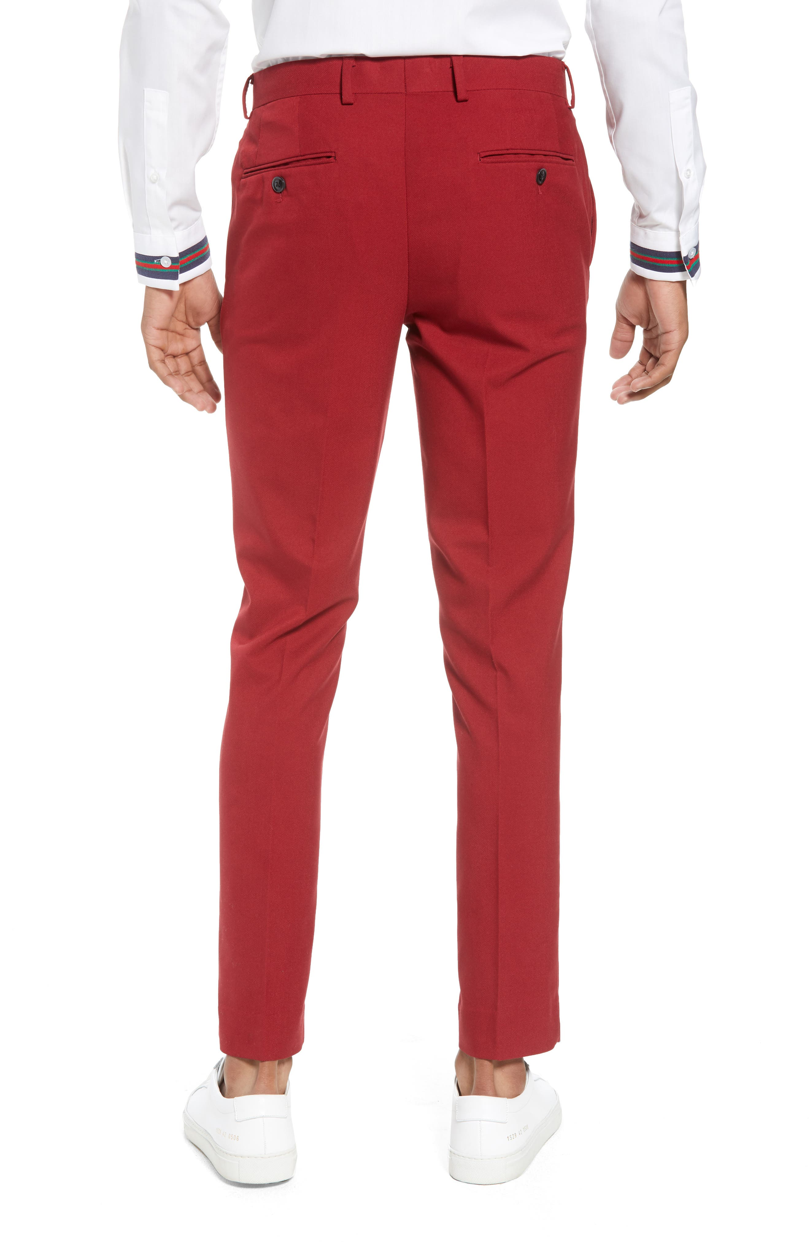 Skinny Fit Suit Trousers,                             Alternate thumbnail 2, color,                             Red