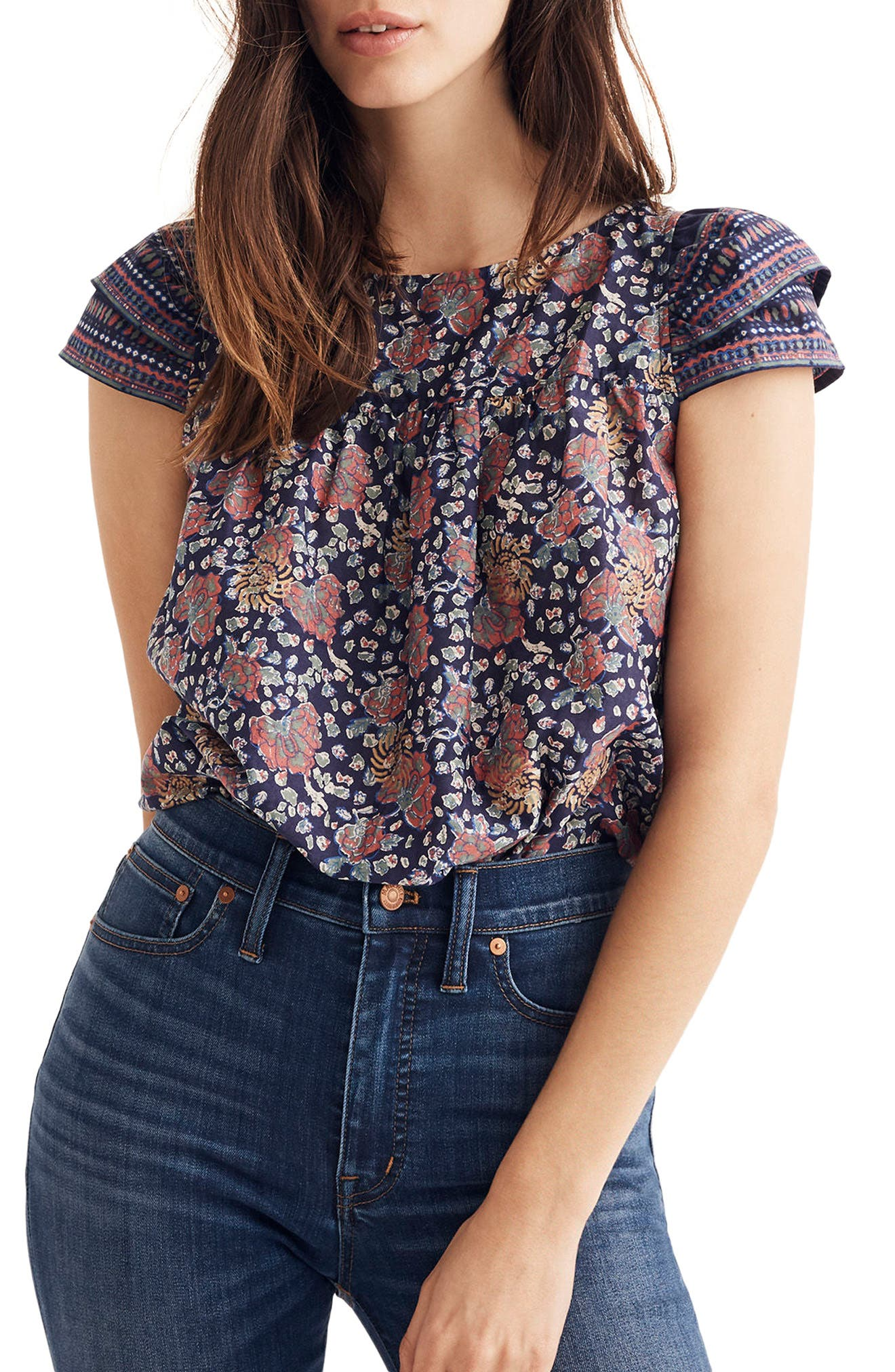 Fan Floral Mix Story Top,                         Main,                         color, Block Nectar Gold