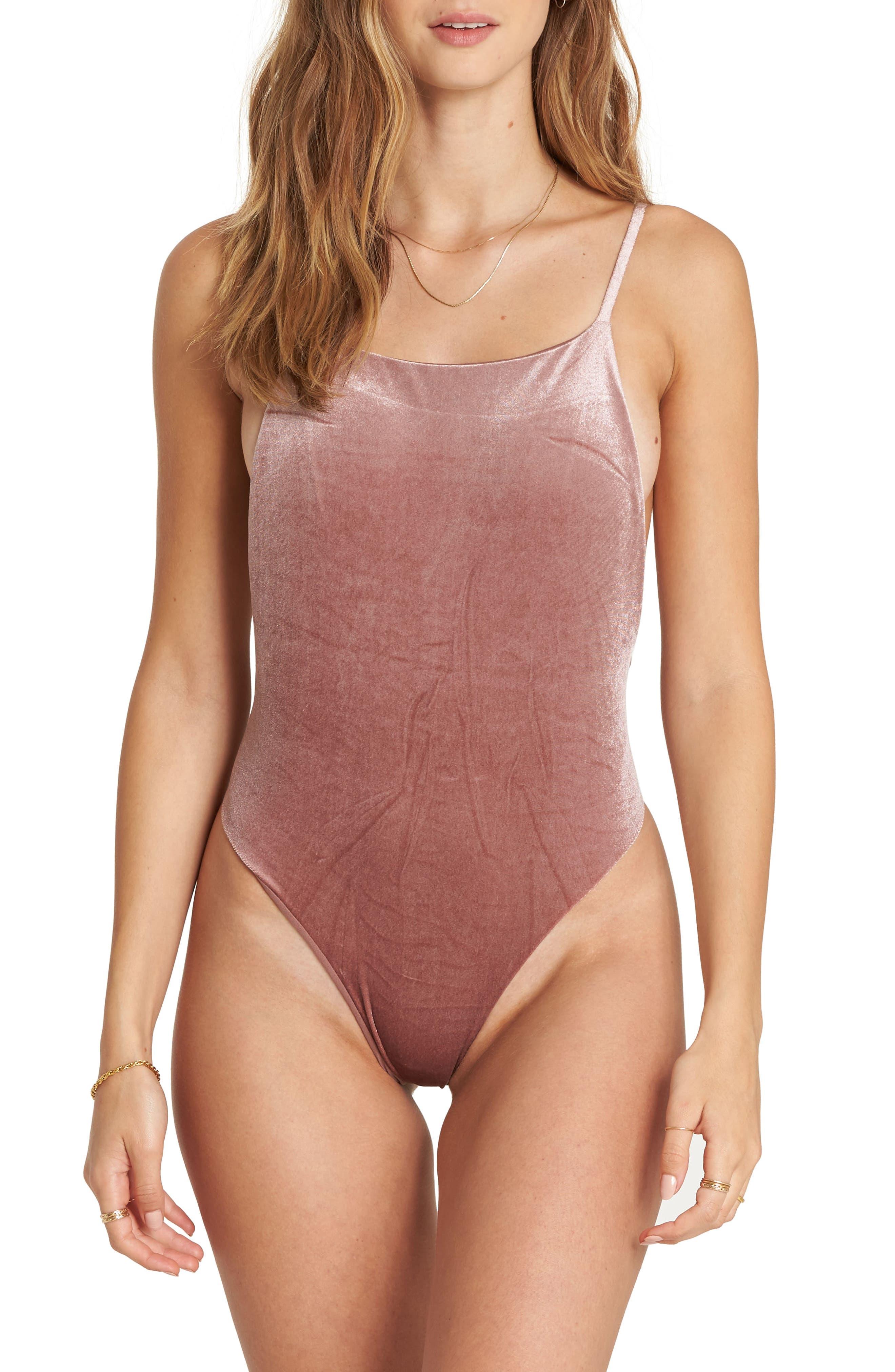 Fool4U One-Piece Swimsuit,                         Main,                         color, Vintage Plum