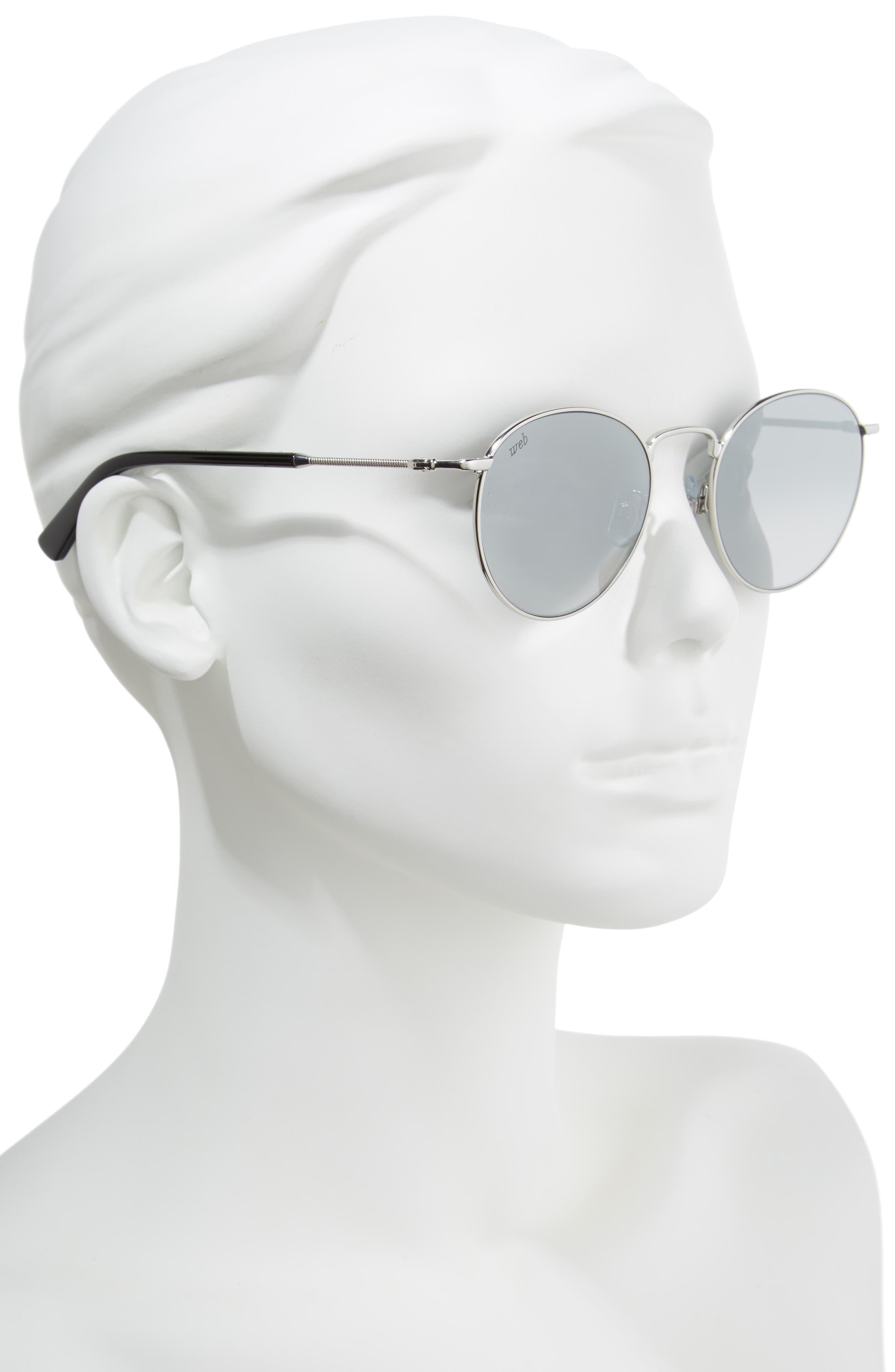 51mm Round Metal Sunglasses,                             Alternate thumbnail 2, color,                             Shiny Palladium/ Smoke Mirror