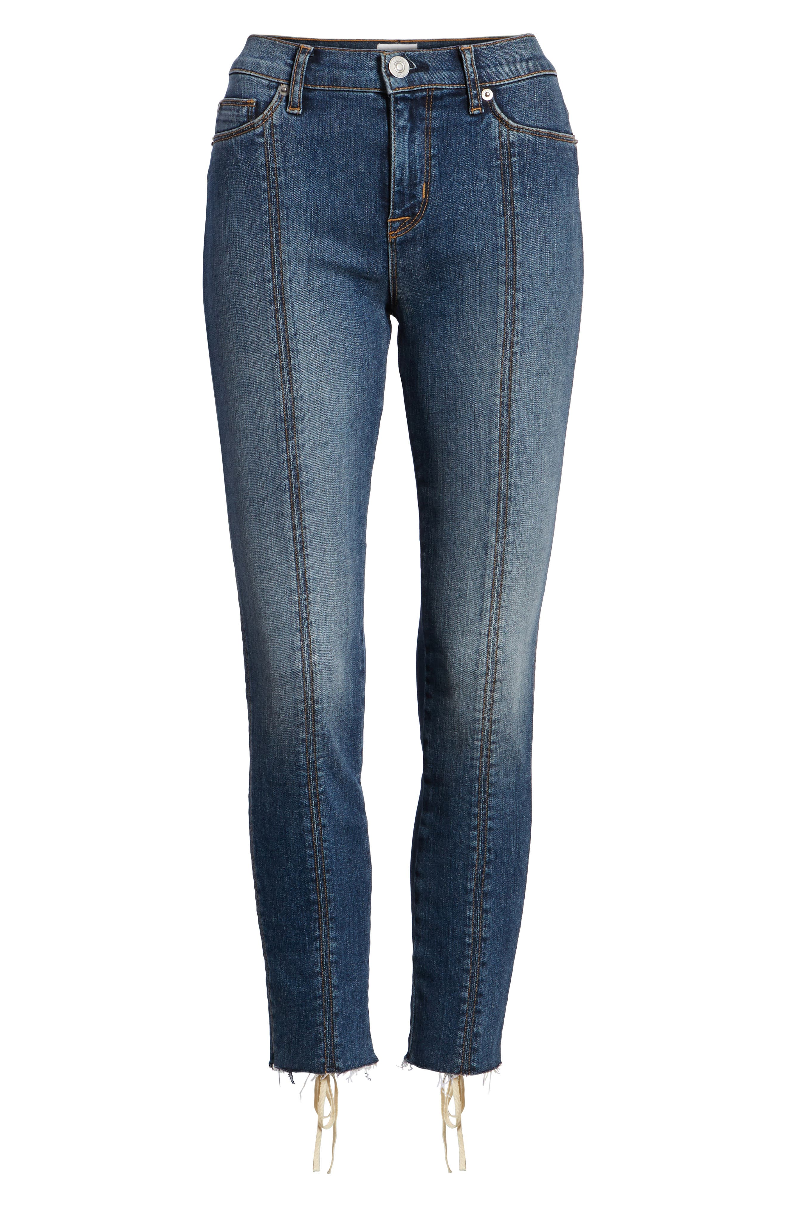 Nico Lace-Up Crop Skinny Jeans,                             Alternate thumbnail 7, color,                             Unfamed