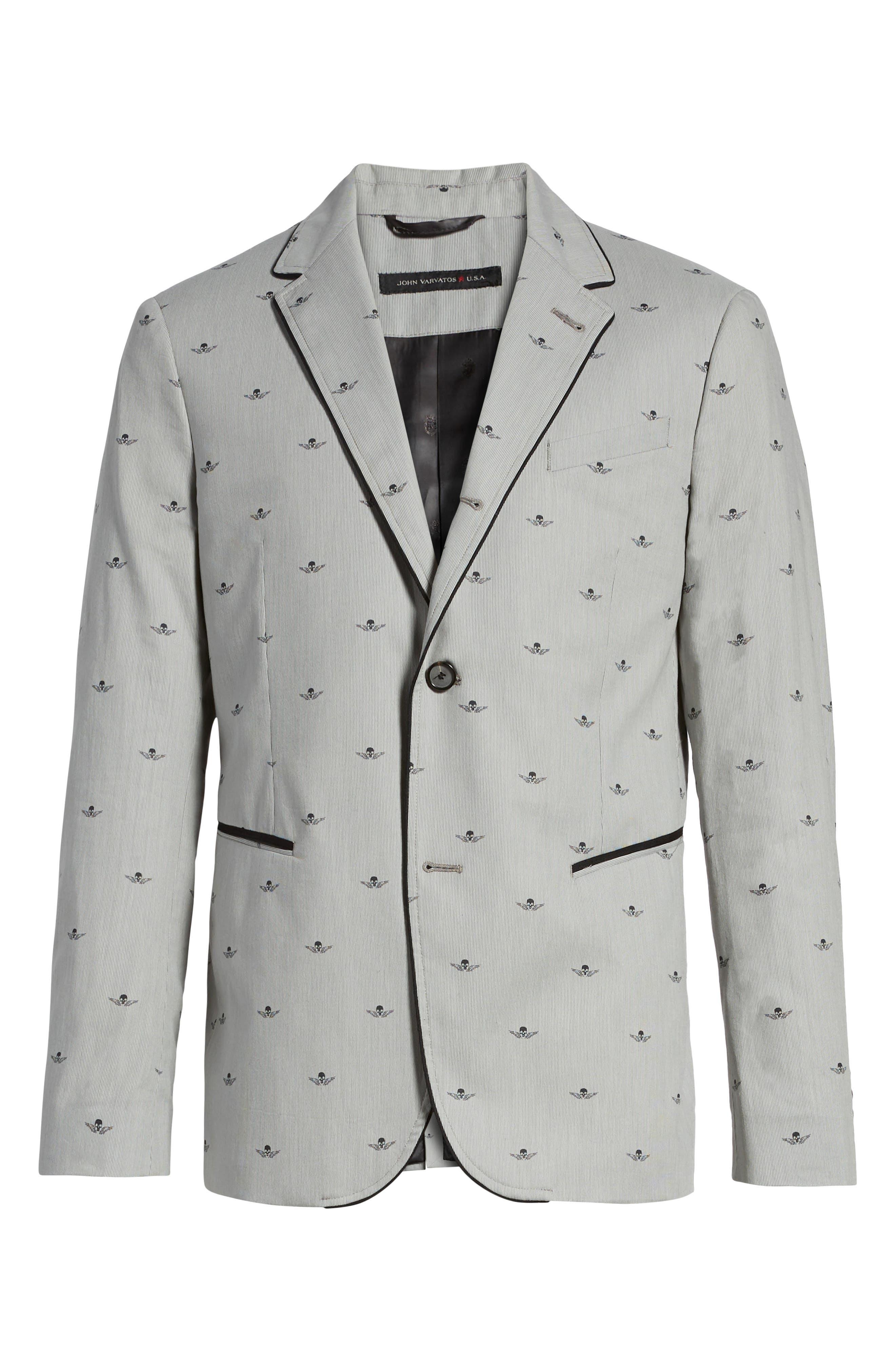 Slim Fit Print Cotton Blazer,                             Alternate thumbnail 6, color,                             Mercury Grey