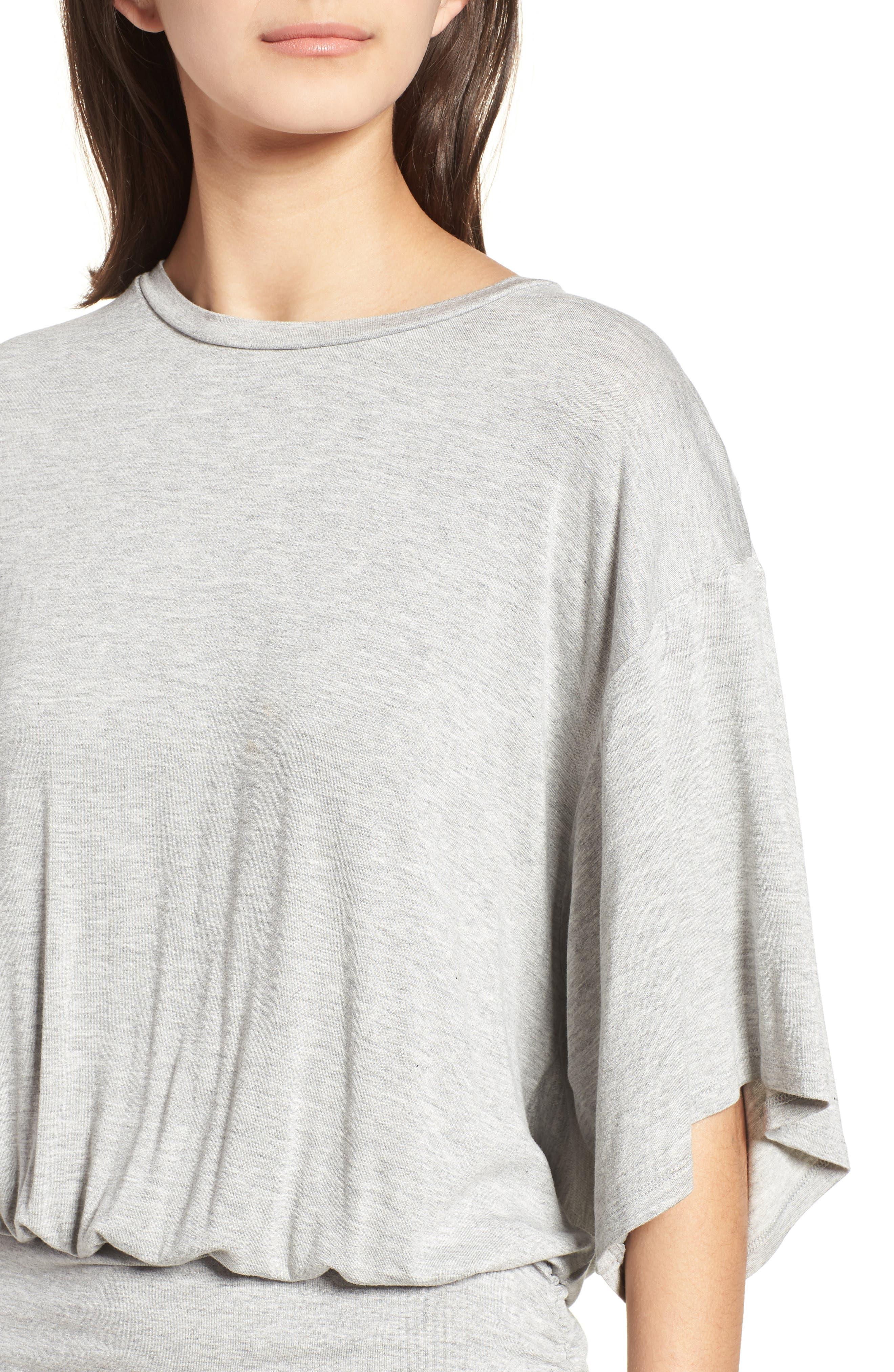 Open Back T-Shirt Dress,                             Alternate thumbnail 4, color,                             Heather Grey