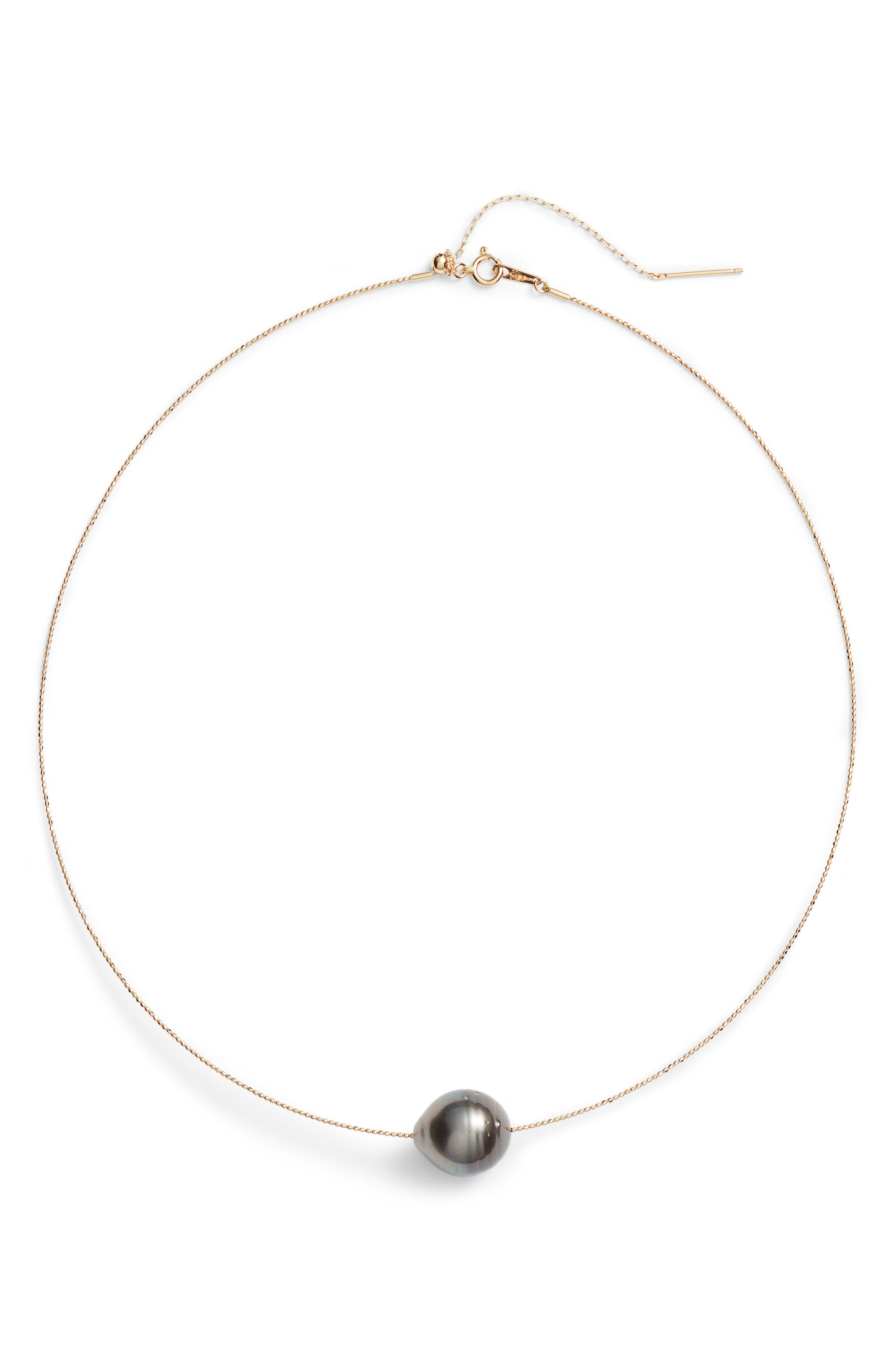 South Sea Collar Necklace with Genuine Pearl,                         Main,                         color, Yellow Gold/ Black Pearl