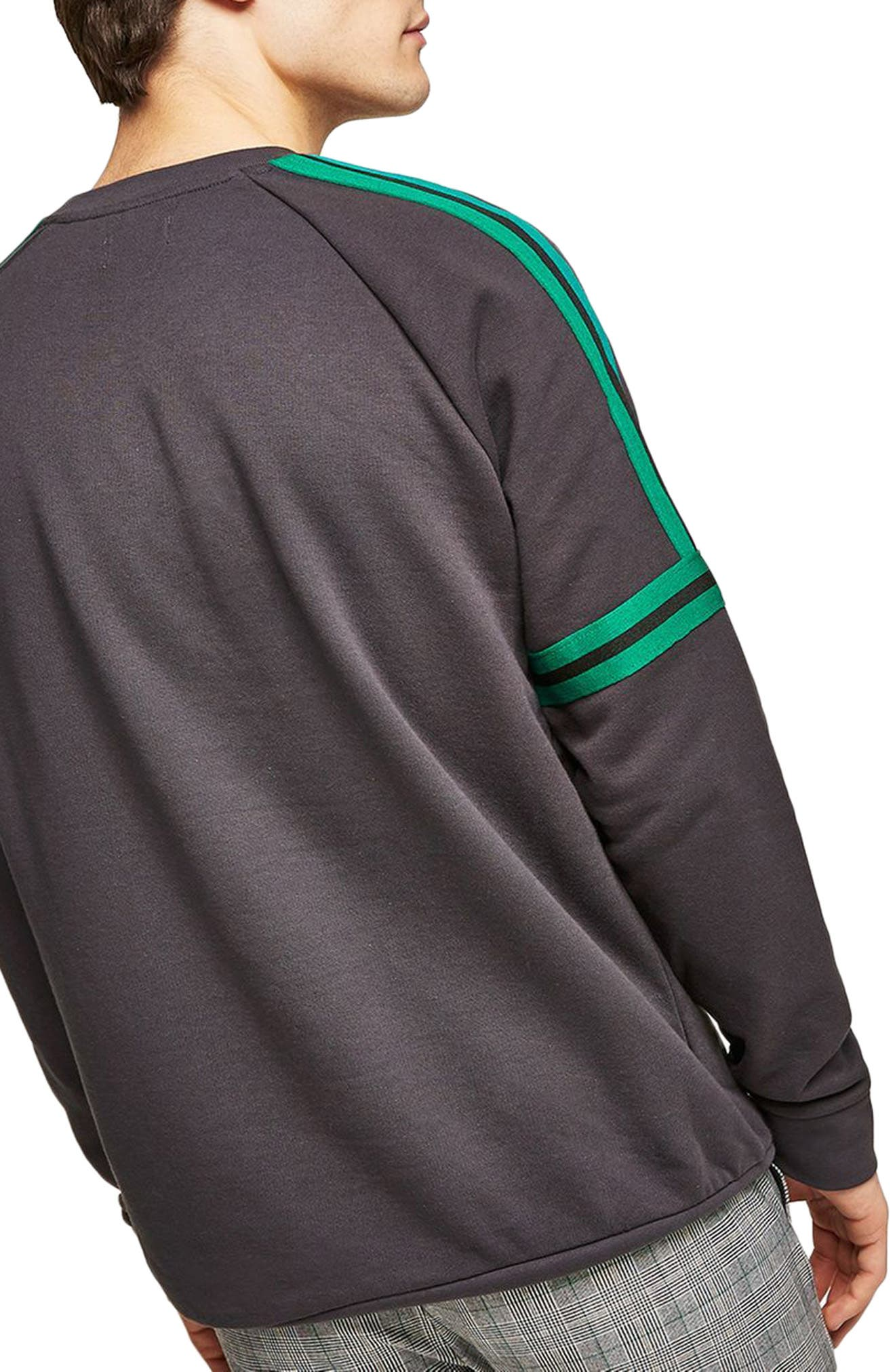 Tape Crewneck Sweatshirt,                             Alternate thumbnail 2, color,                             Grey Multi