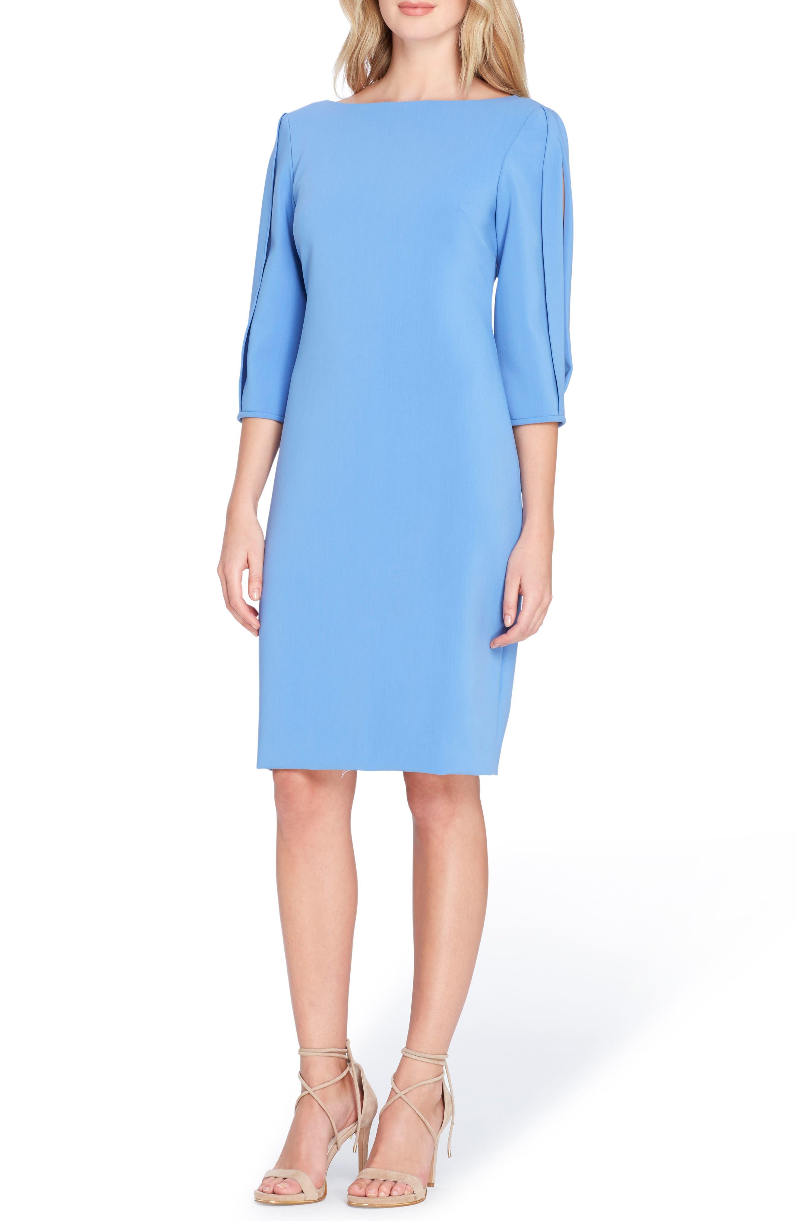 Tahari Split Sleeve Midi Sheath Dress