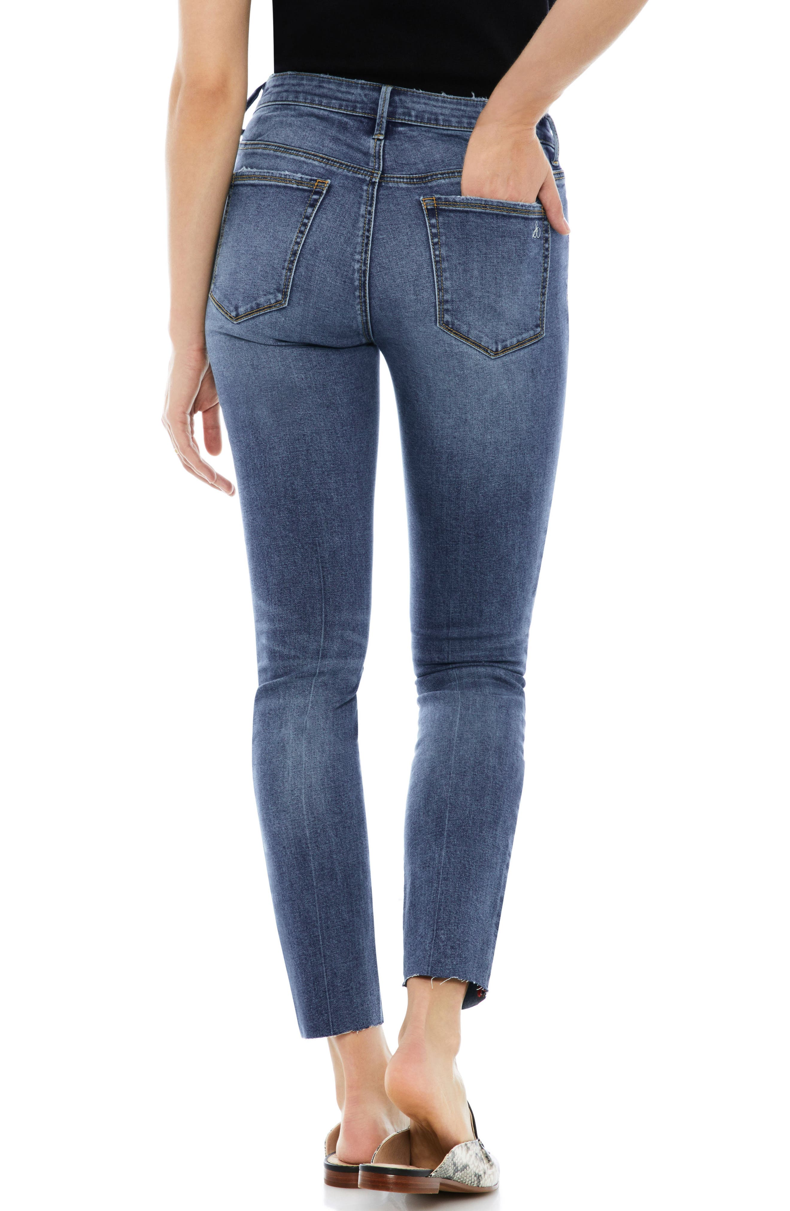 The Stiletto Raw Edge Skinny Jeans,                             Alternate thumbnail 2, color,                             Candice