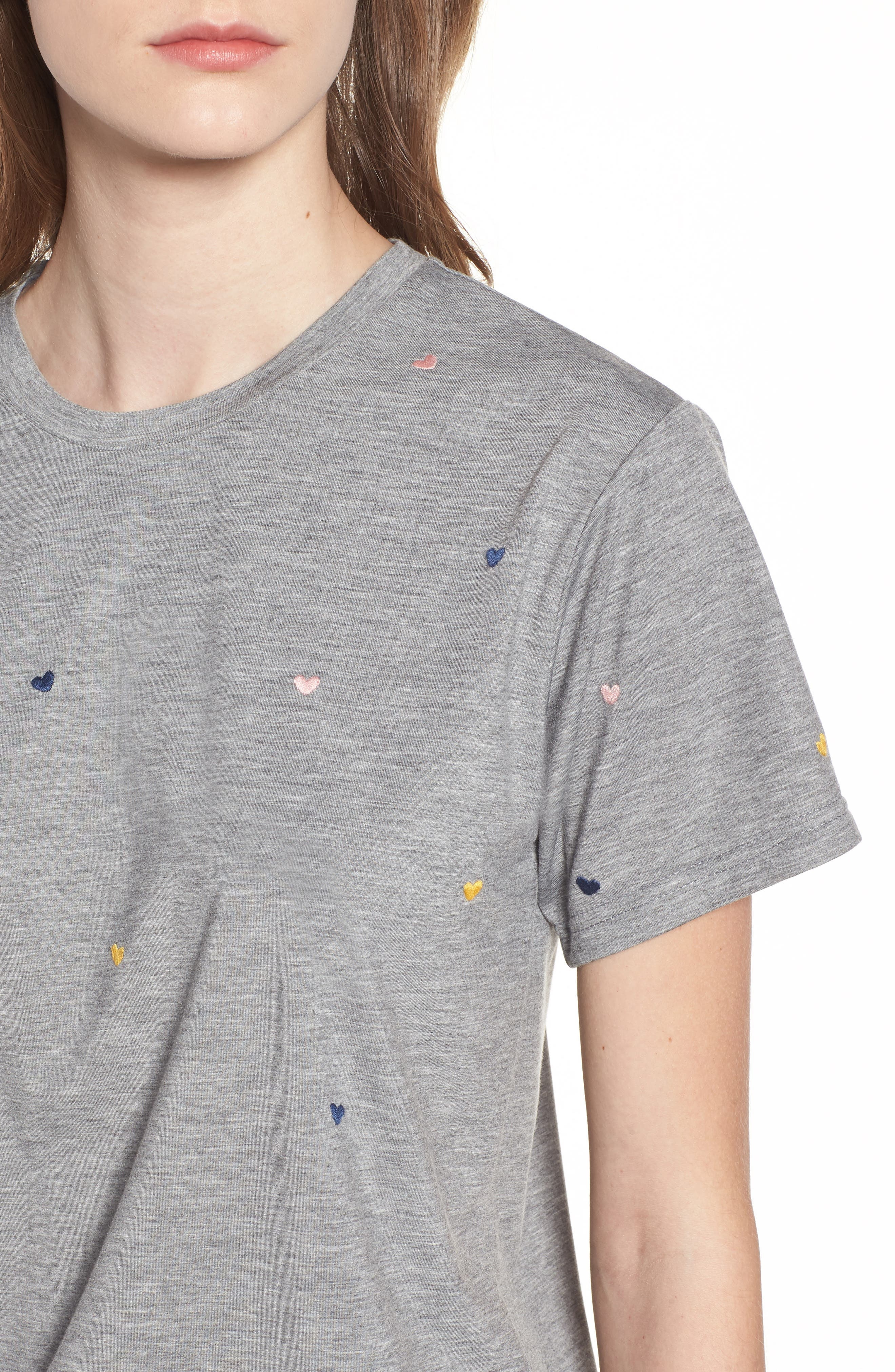 Embroidered Heart Tee,                             Alternate thumbnail 4, color,                             Grey