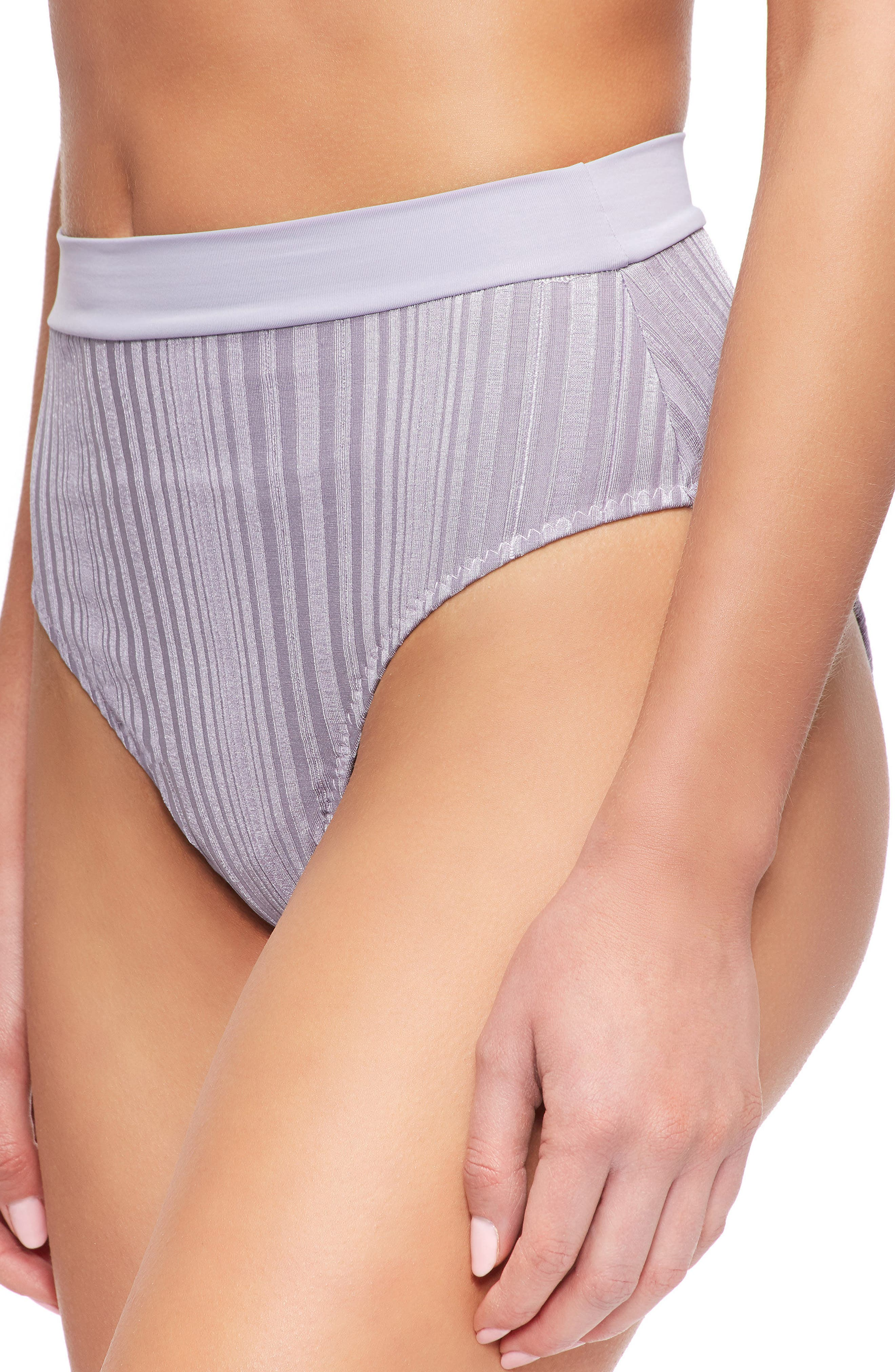 Pernille High Waist Bikini Bottoms,                             Alternate thumbnail 3, color,                             Lilac Grey