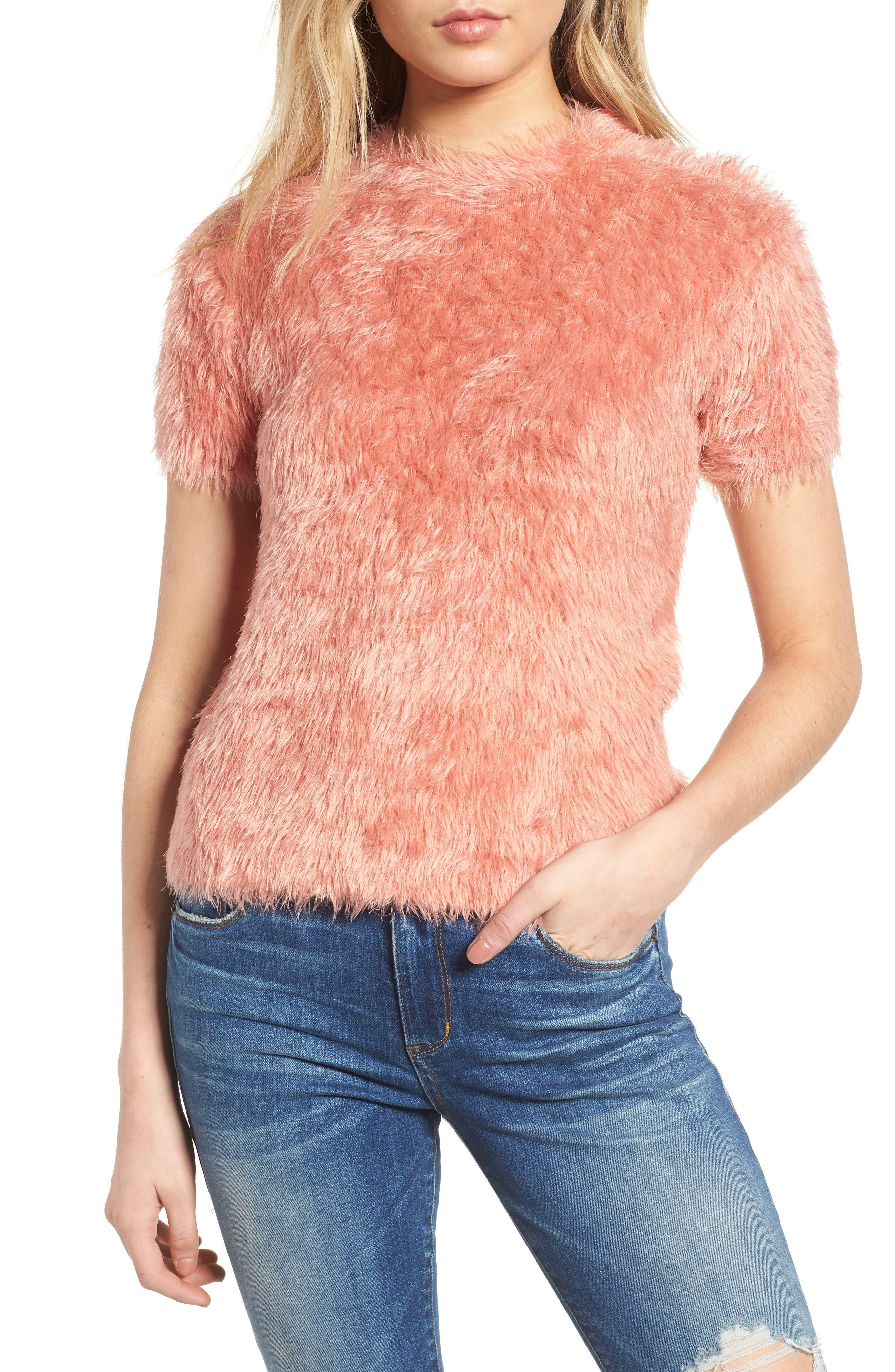 Eyelash Sweater,                         Main,                         color, Pink
