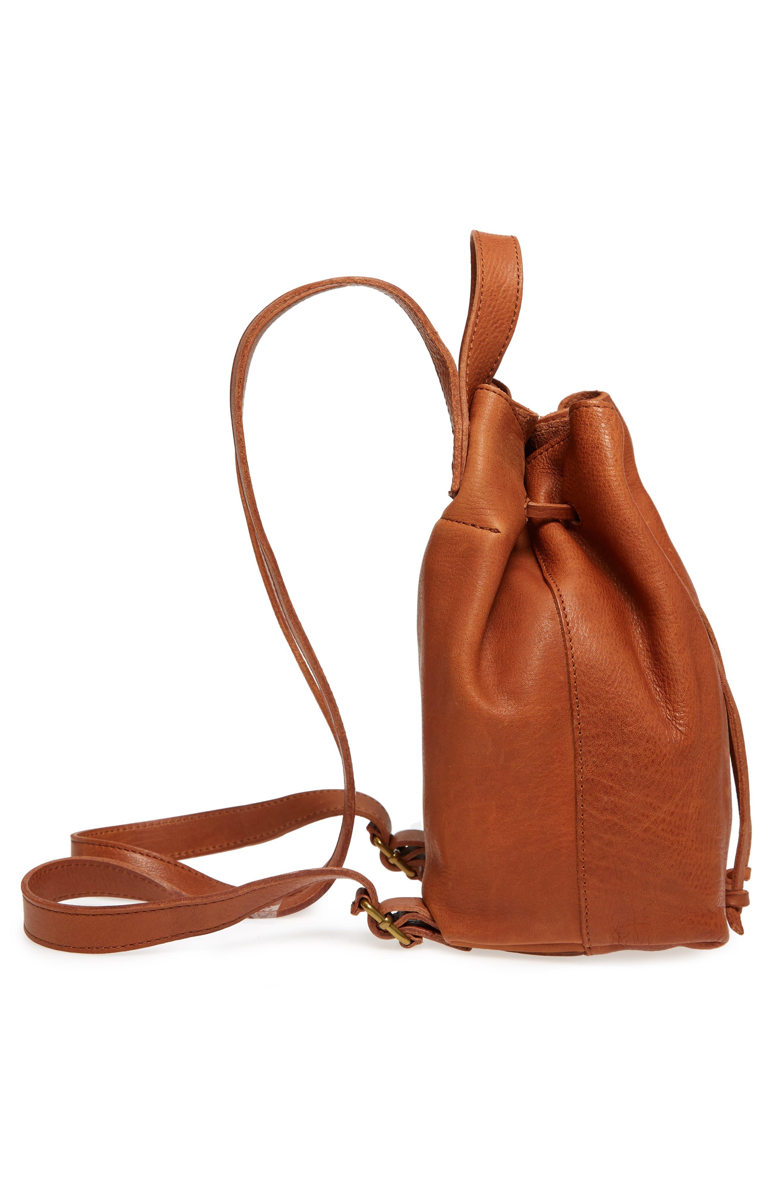 Mini Somerset Leather Backpack,                             Alternate thumbnail 5, color,                             English Saddle