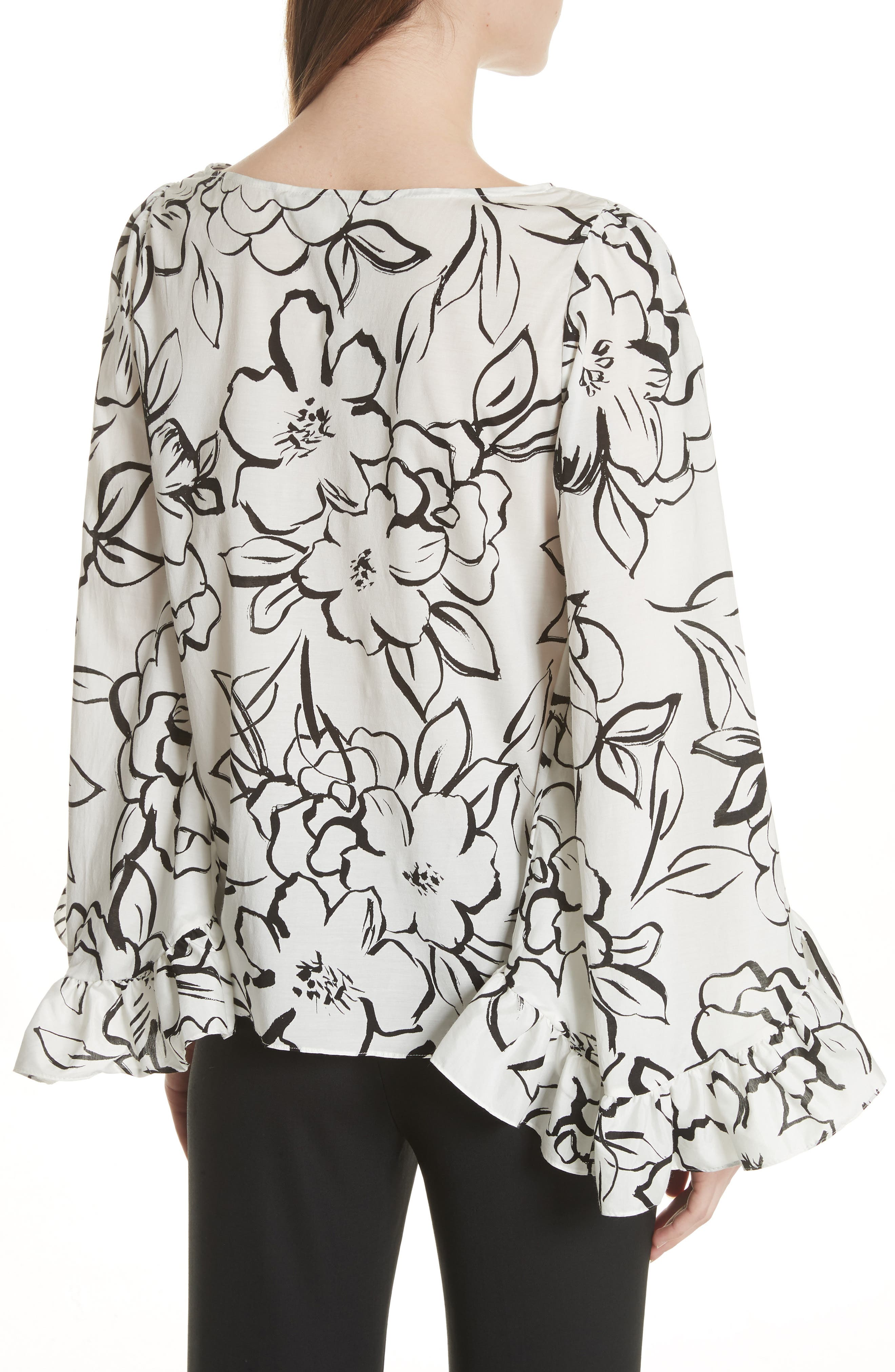 Flounced Floral Top,                             Alternate thumbnail 2, color,                             Neutral Floral