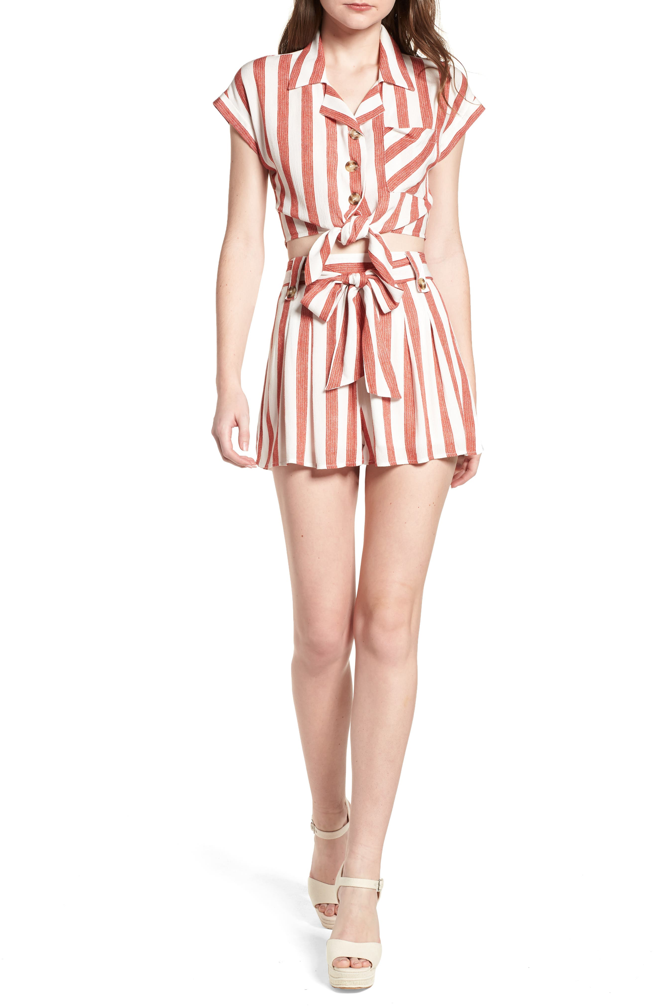 Stripe Tie Front Top,                             Alternate thumbnail 2, color,                             Red/ Ivory