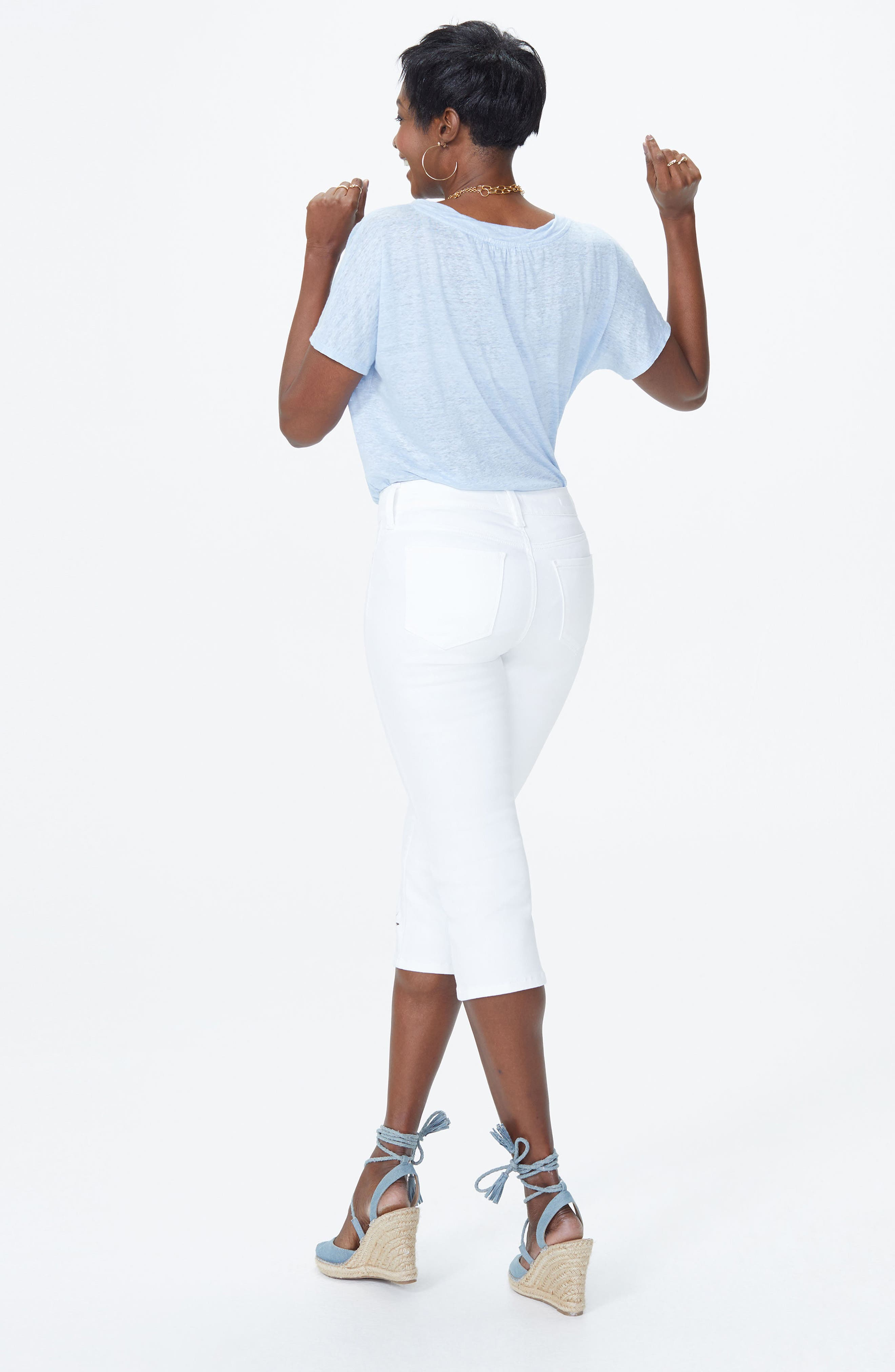 Marilyn Eyelet Hem Stretch Crop Jeans,                             Alternate thumbnail 2, color,                             Optic White