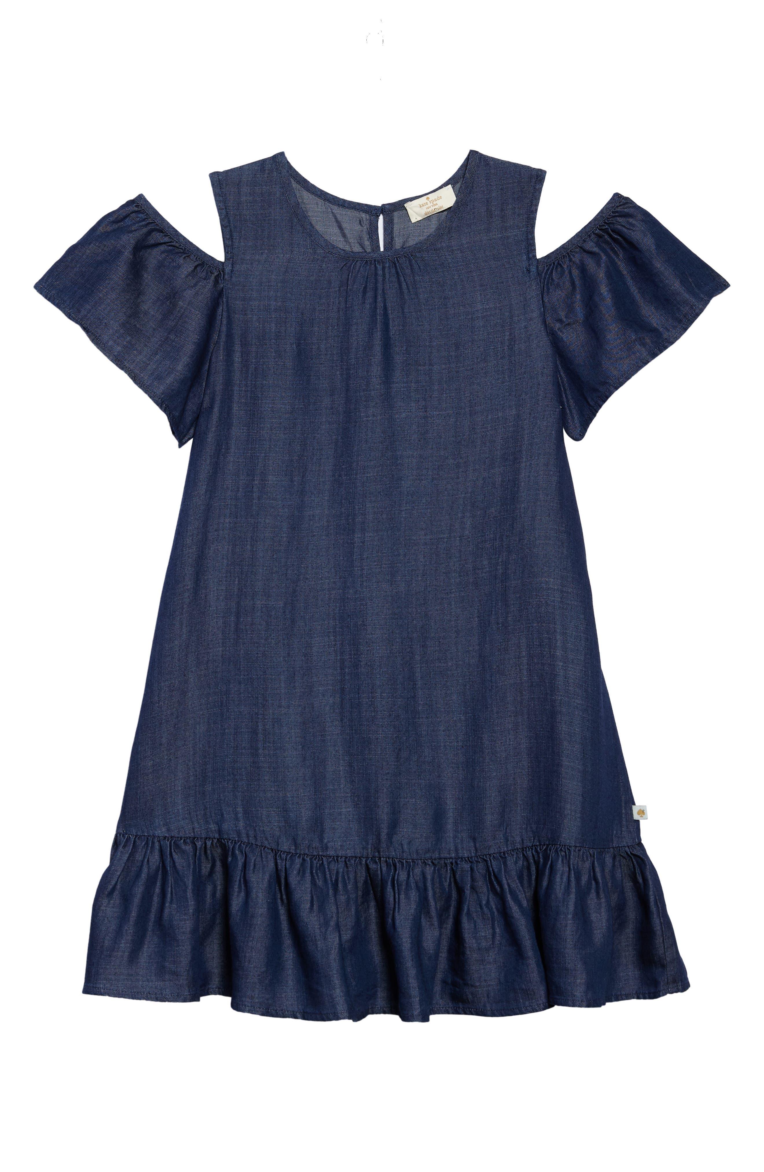 chambray cold shoulder dress,                         Main,                         color, Dark Wash