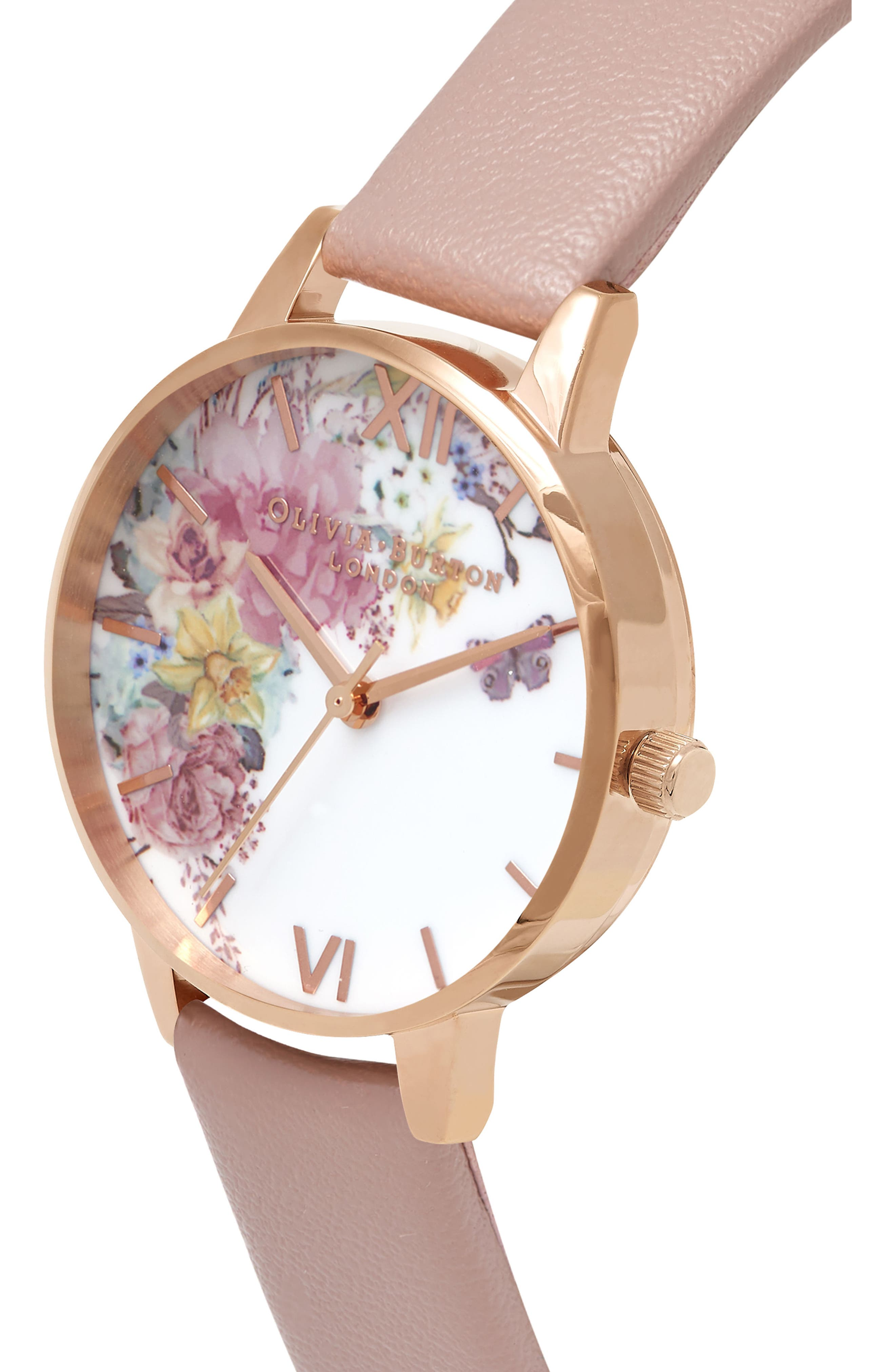 Enchanted Garden Faux Leather Strap Watch, 30mm,                             Alternate thumbnail 3, color,                             Sand/ Floral/ Rose Gold