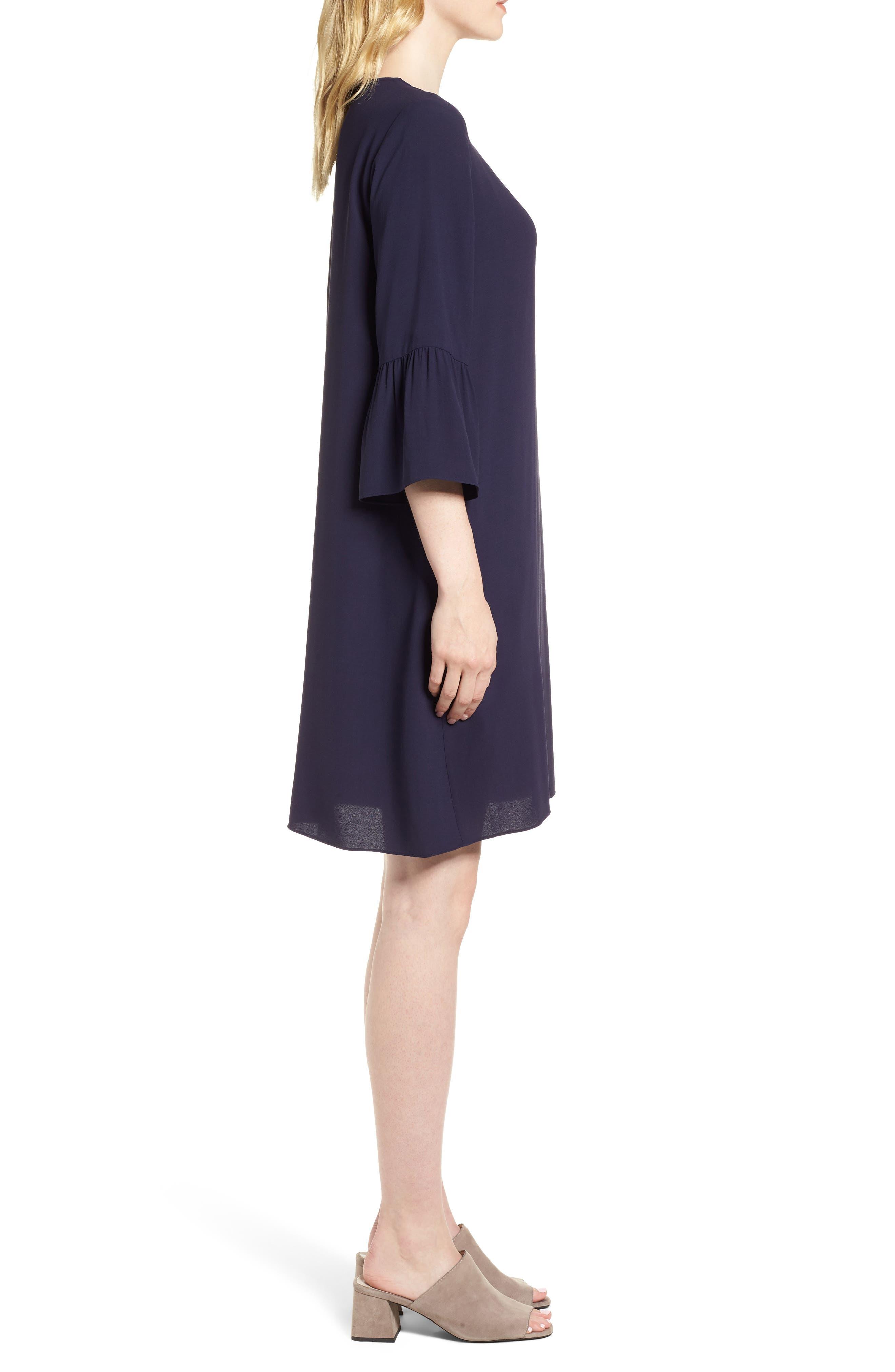 Flare Sleeve Silk Dress,                             Alternate thumbnail 3, color,                             Salt Lake