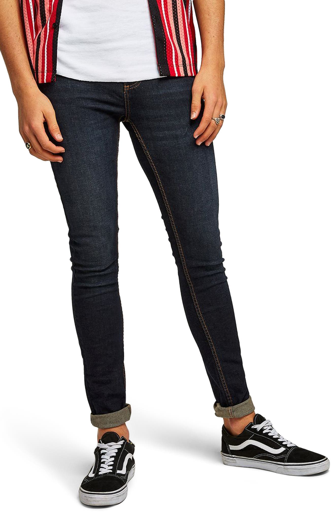 Spray On Skinny Fit Jeans,                             Main thumbnail 1, color,                             Blue