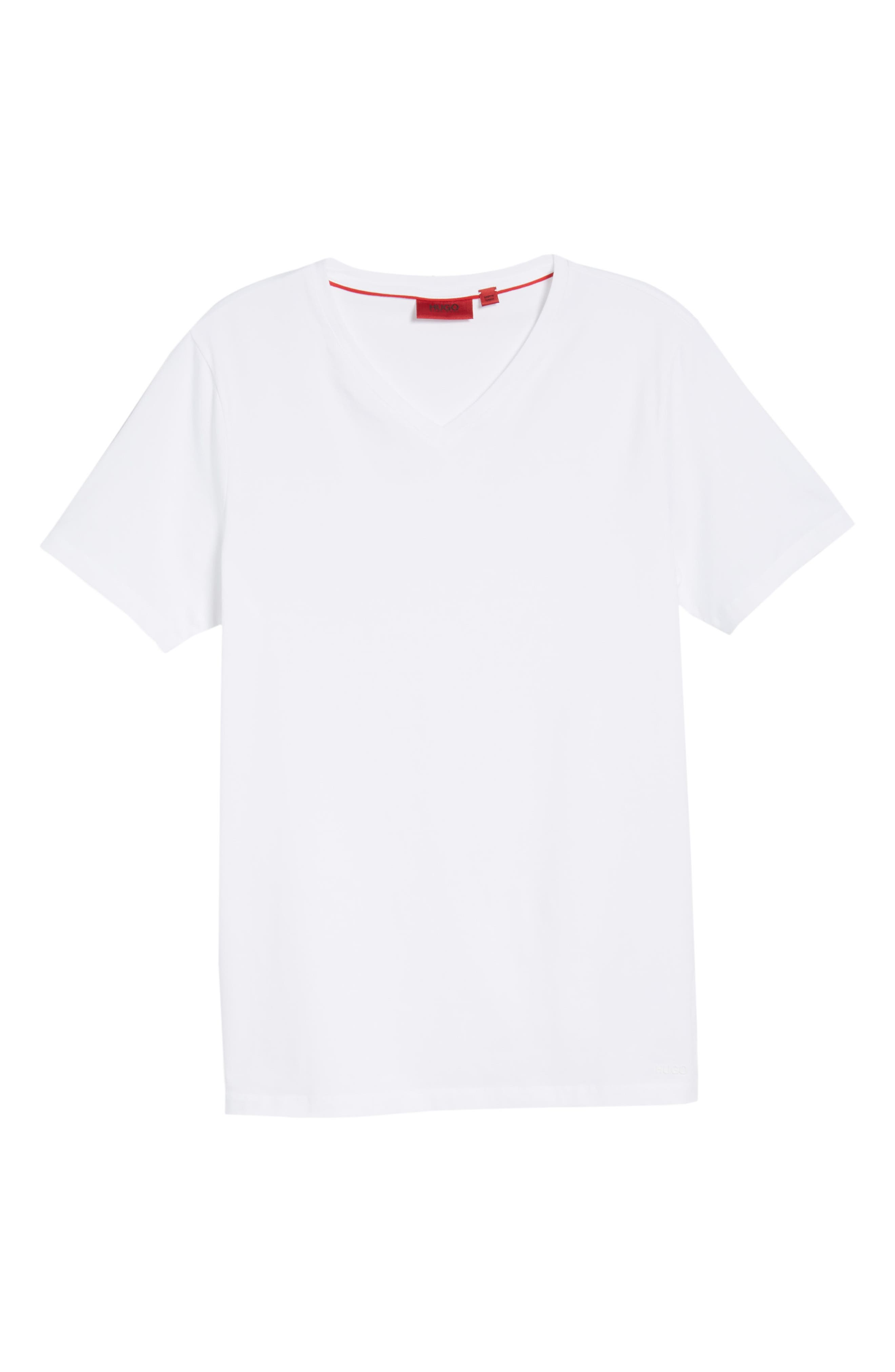 HUGO Dandre Slim Fit V-Neck T-Shirt,                             Alternate thumbnail 6, color,                             White