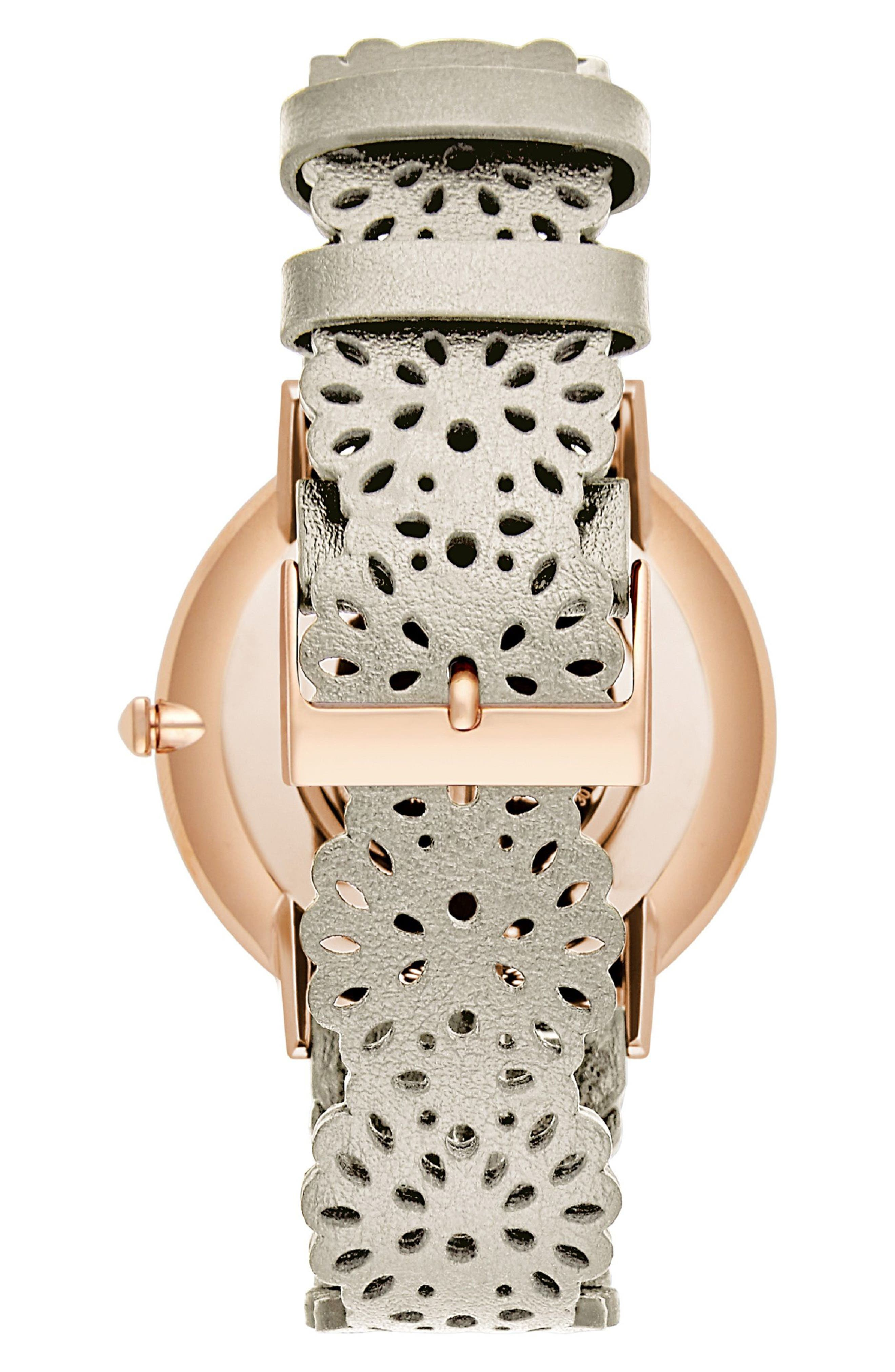 Major Etched Leather Strap Watch, 40mm,                             Alternate thumbnail 2, color,                             White/ Silver/ Rose Gold