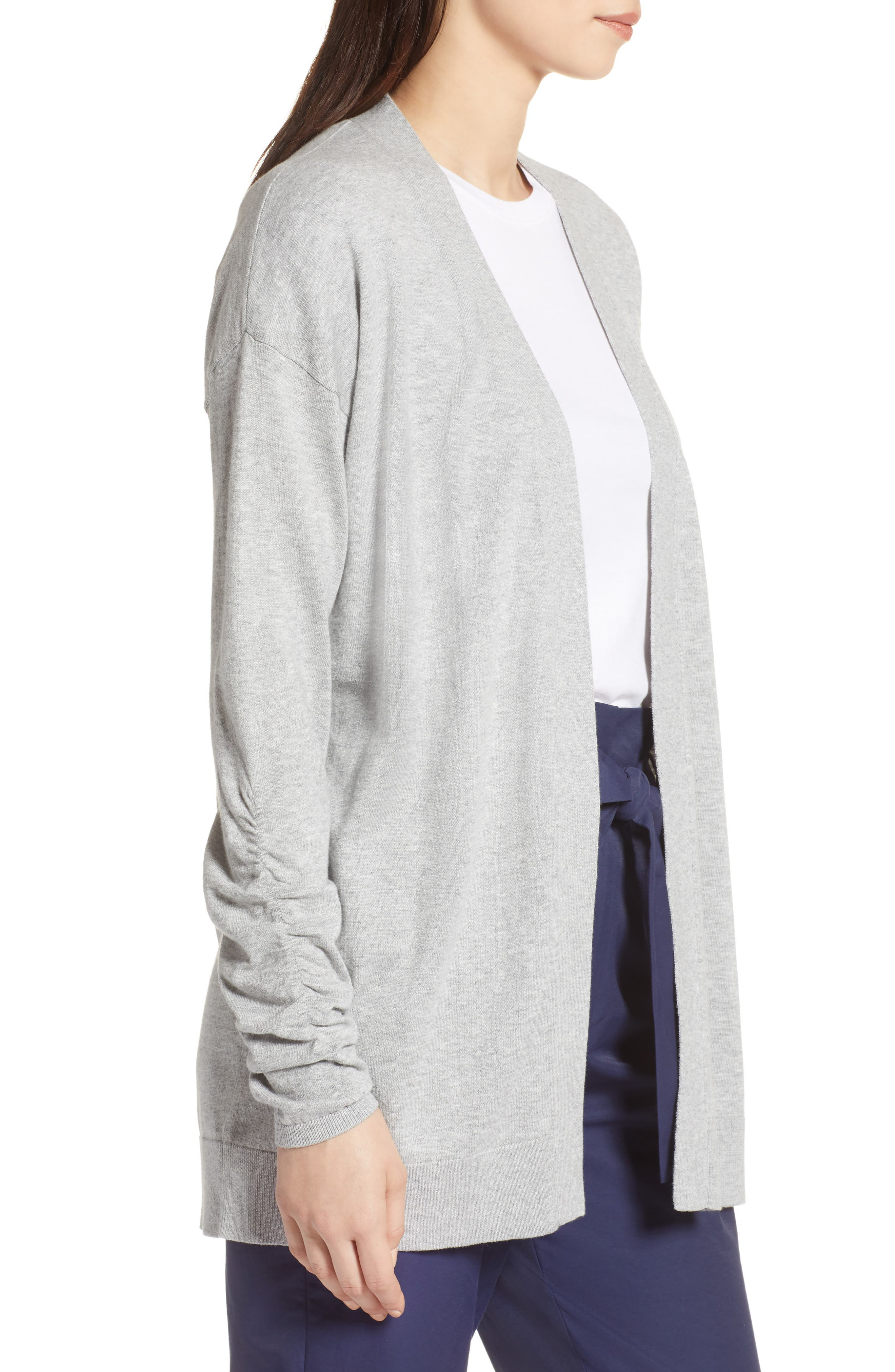 Ruched Sleeve Cardigan,                             Alternate thumbnail 3, color,                             Grey Heather