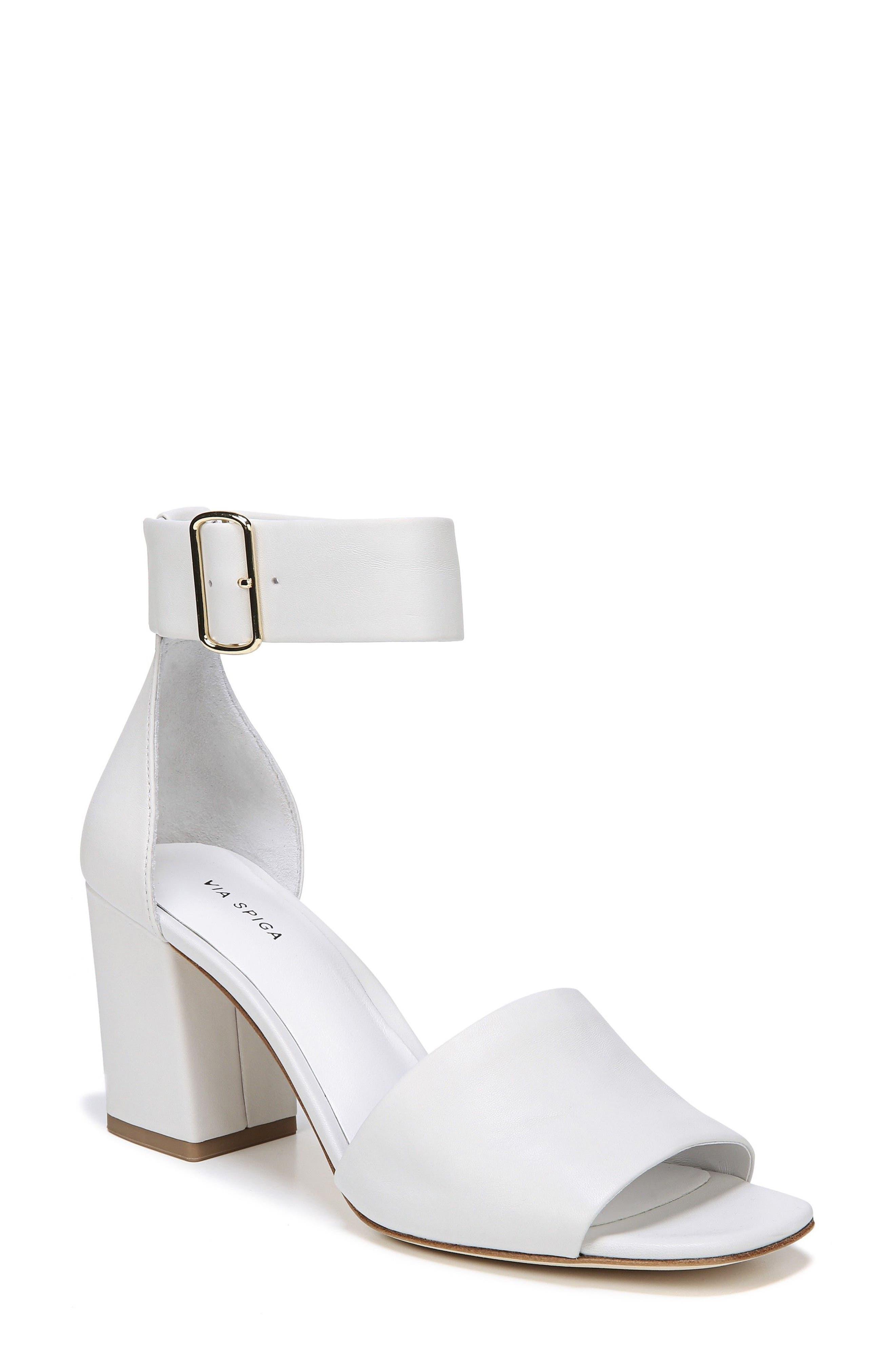 Evonne Ankle Strap Sandal,                             Main thumbnail 1, color,                             Porcelain Leather