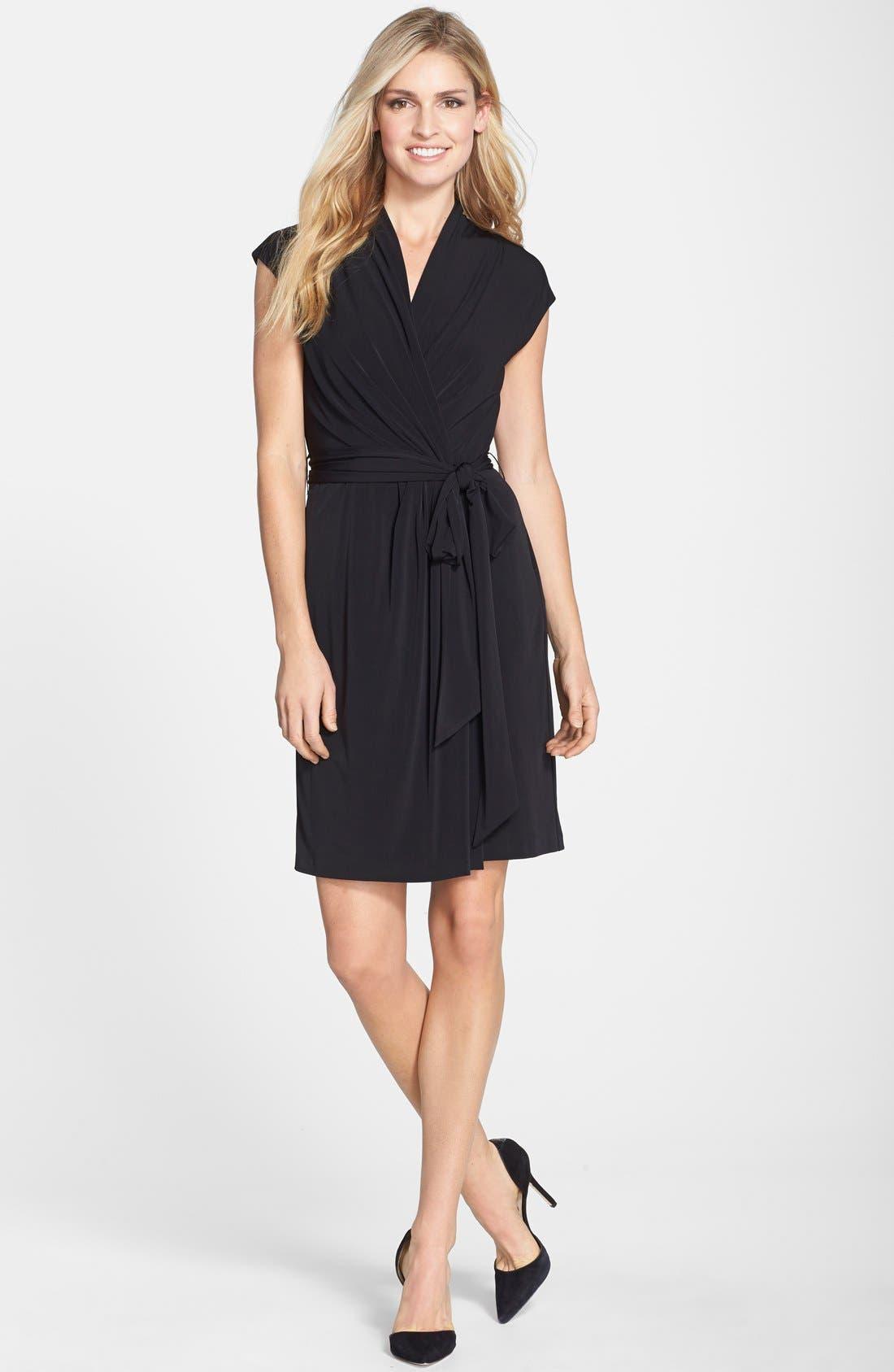 Alternate Image 3  - Eliza J Cap Sleeve Faux Wrap Jersey Dress (Online Only)