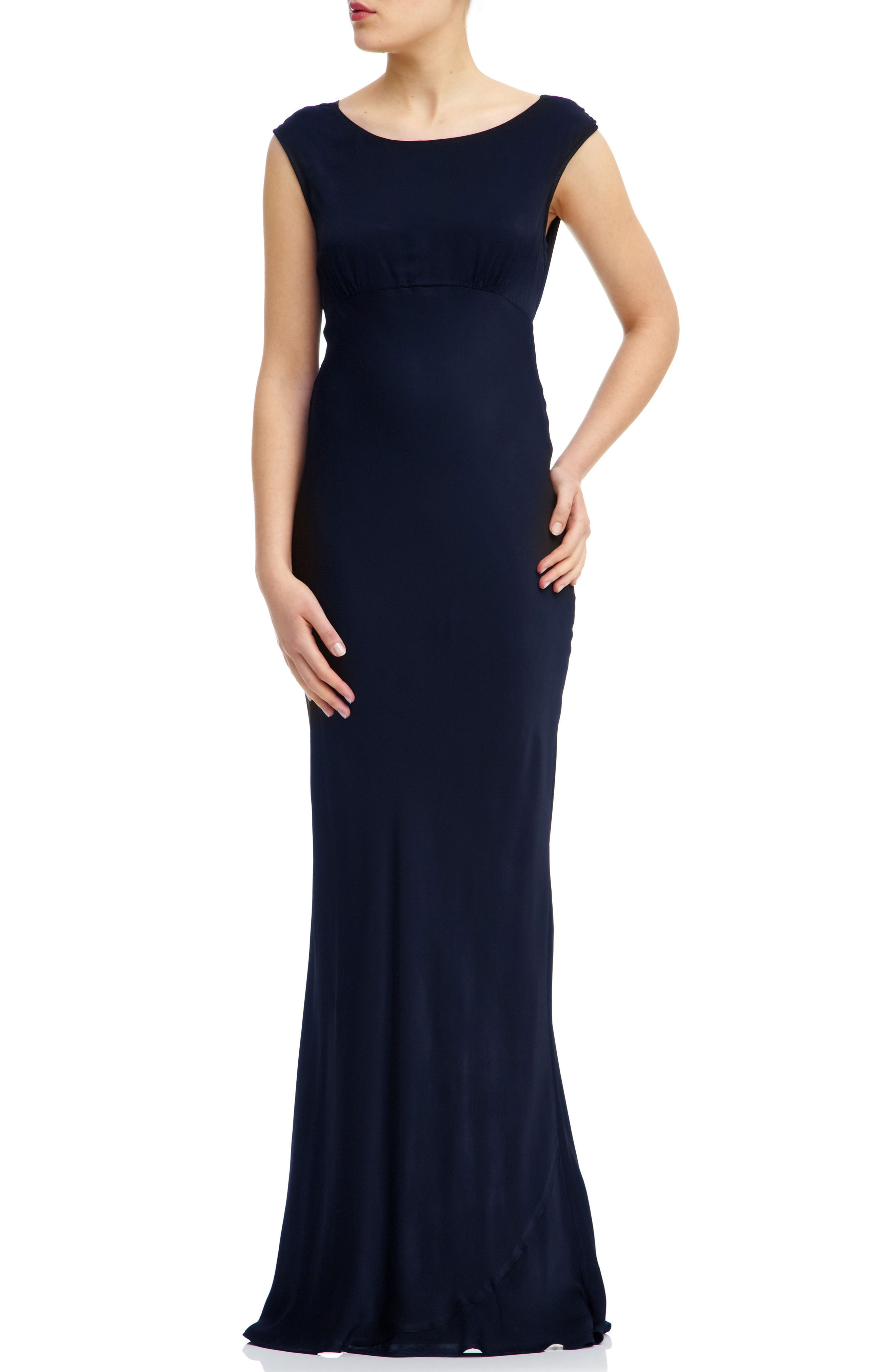 Salma Cowl Back Gown,                             Main thumbnail 1, color,                             Navy